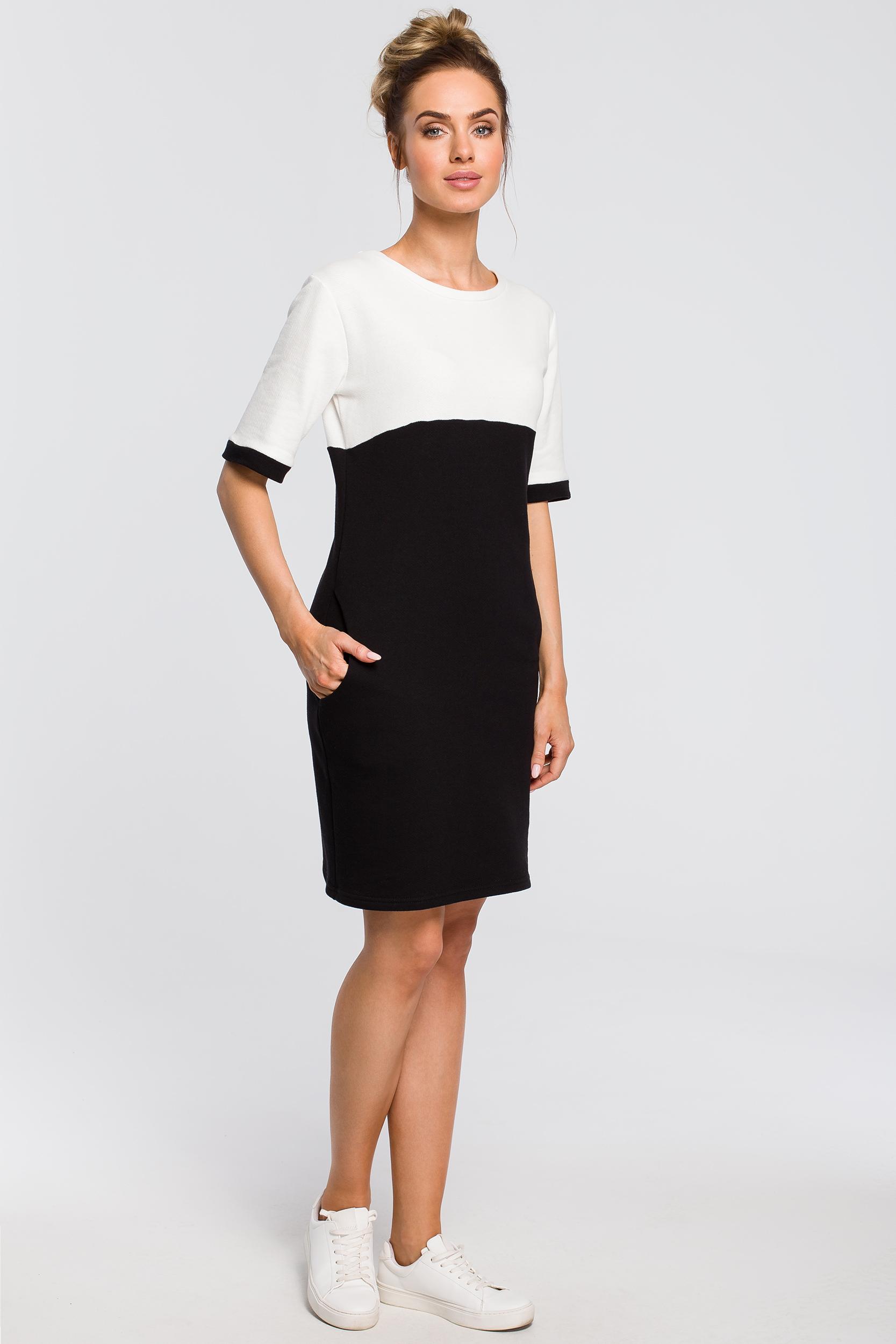 CM4099 Wygodna dwukolorowa sukienka - czarno-ecru