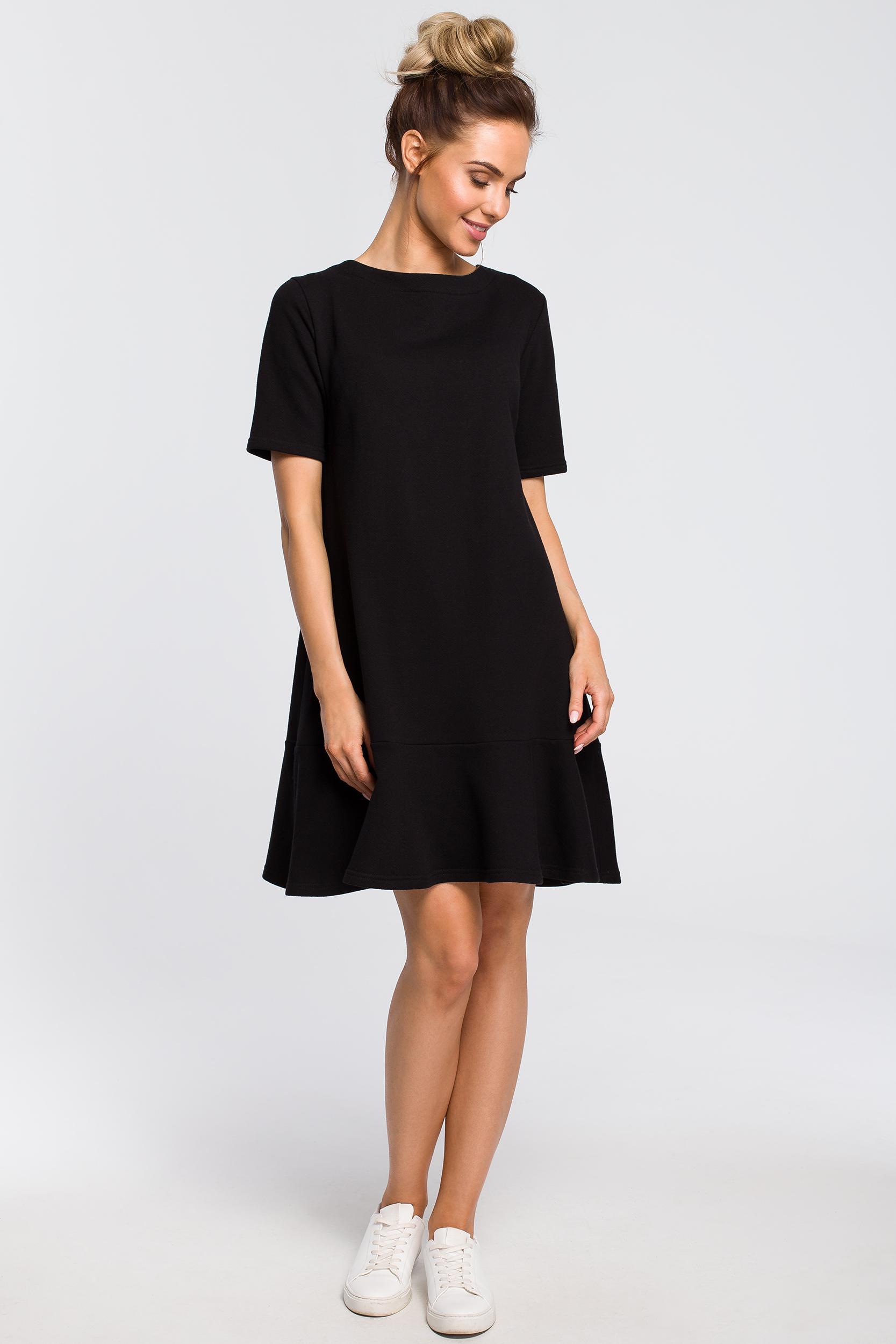 CM4100 Luźna sukienka z wiązaniem na plecach - czarna