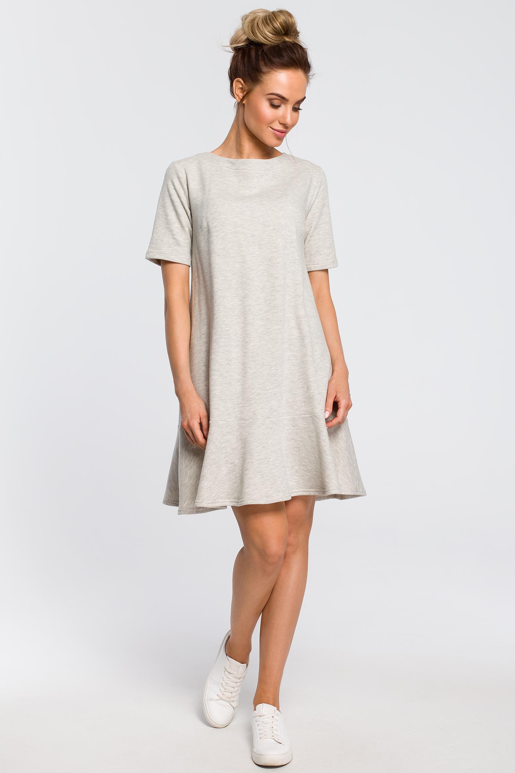 CM4100 Luźna sukienka z wiązaniem na plecach - popielata