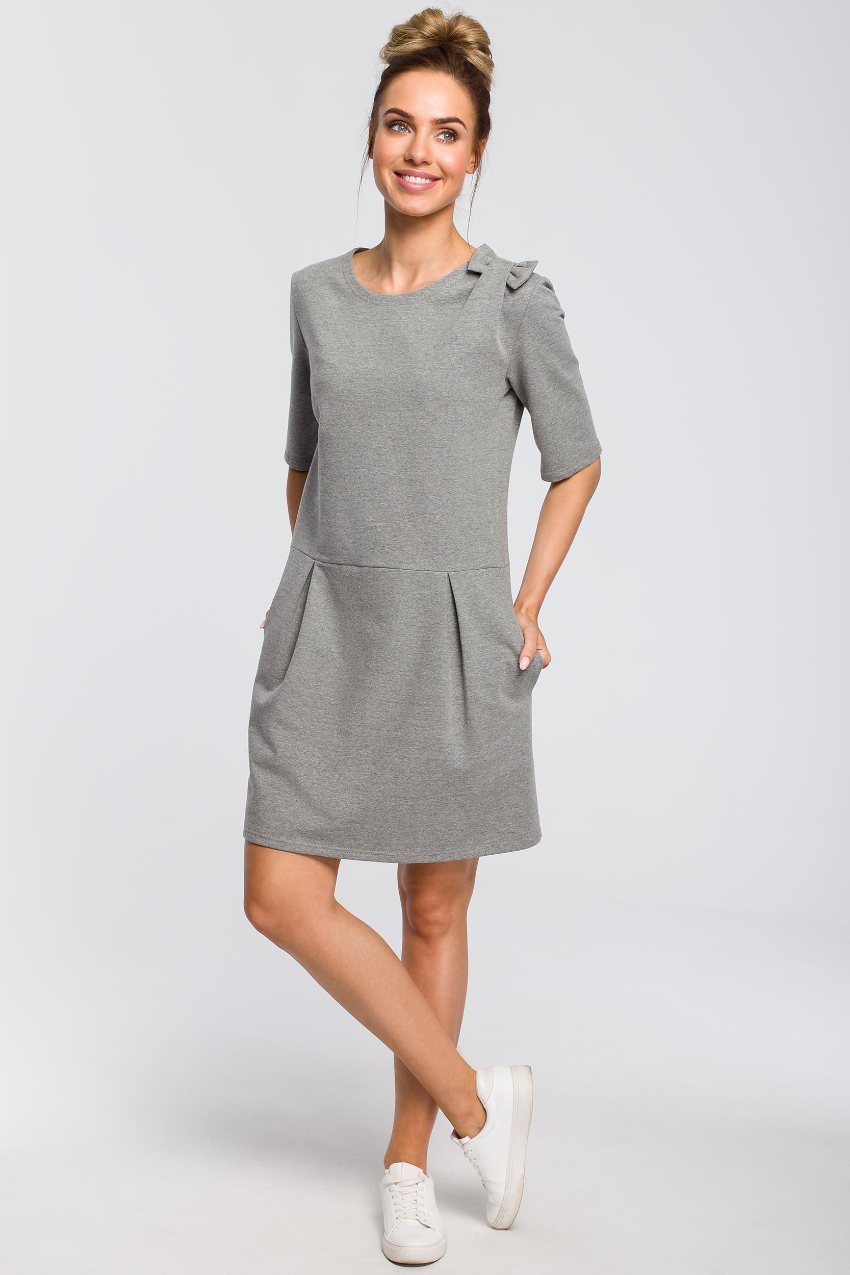 CM4103 Prosta sukienka z kokardką na ramieniu - szara