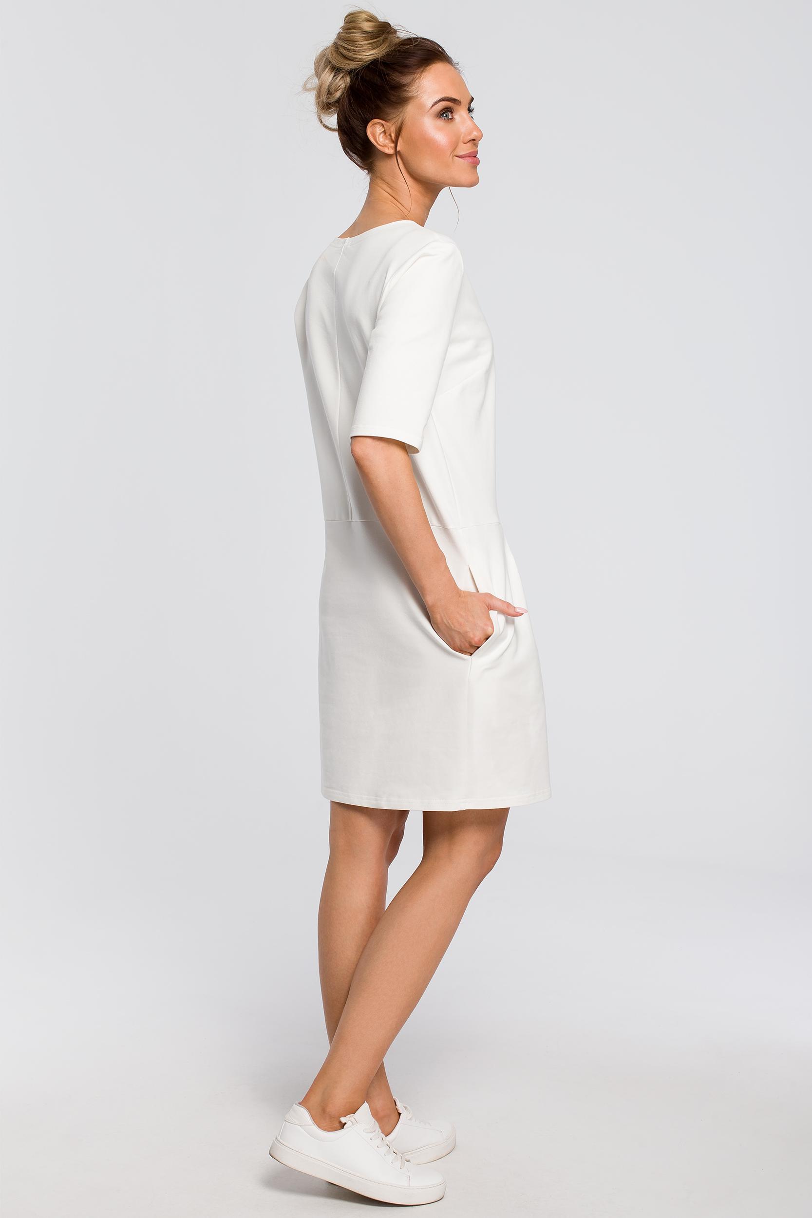 CM4103 Prosta sukienka z kokardką na ramieniu - ecru
