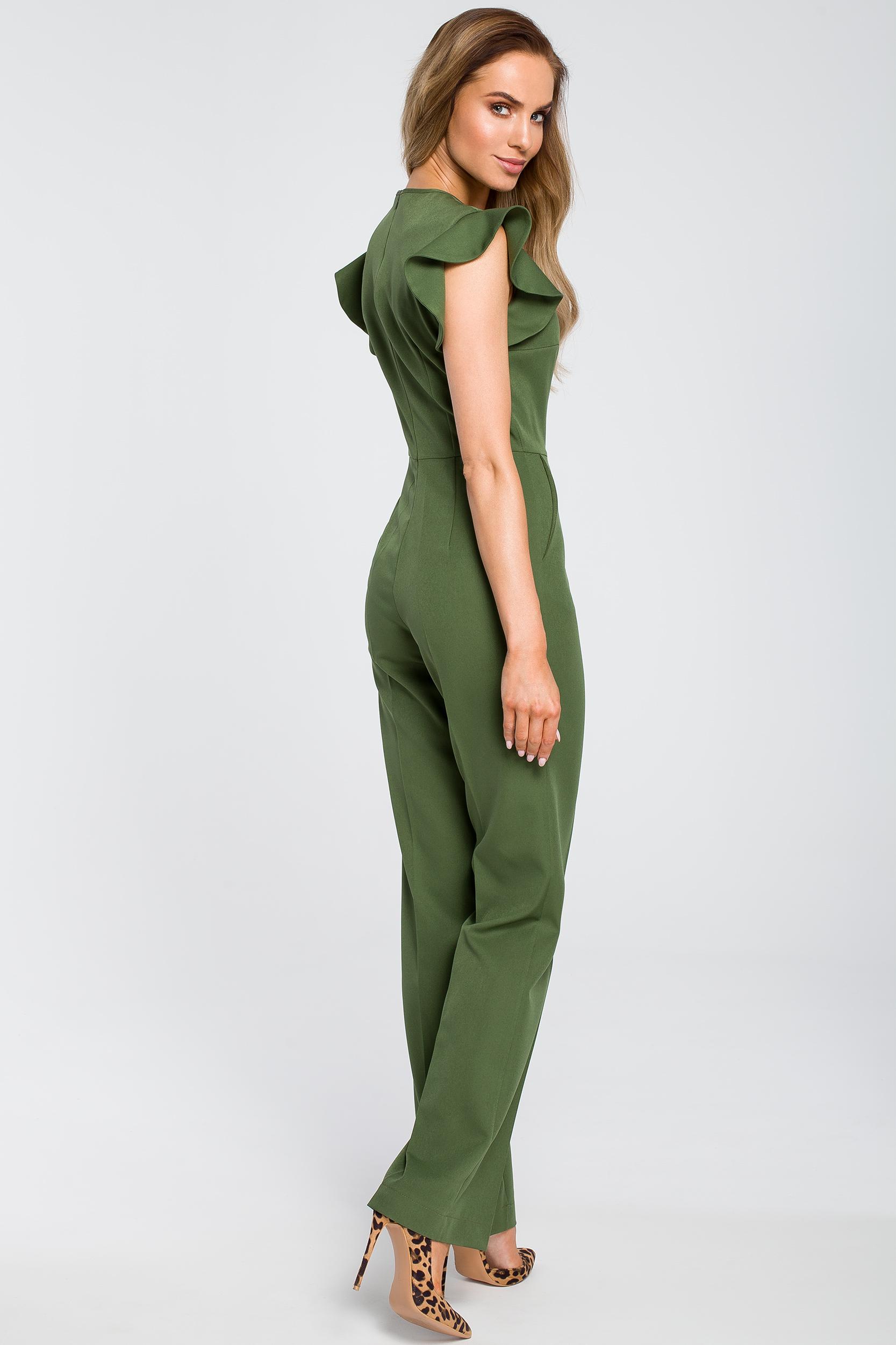 CM4105 Elegancki kombinezon z falbankami - zielony