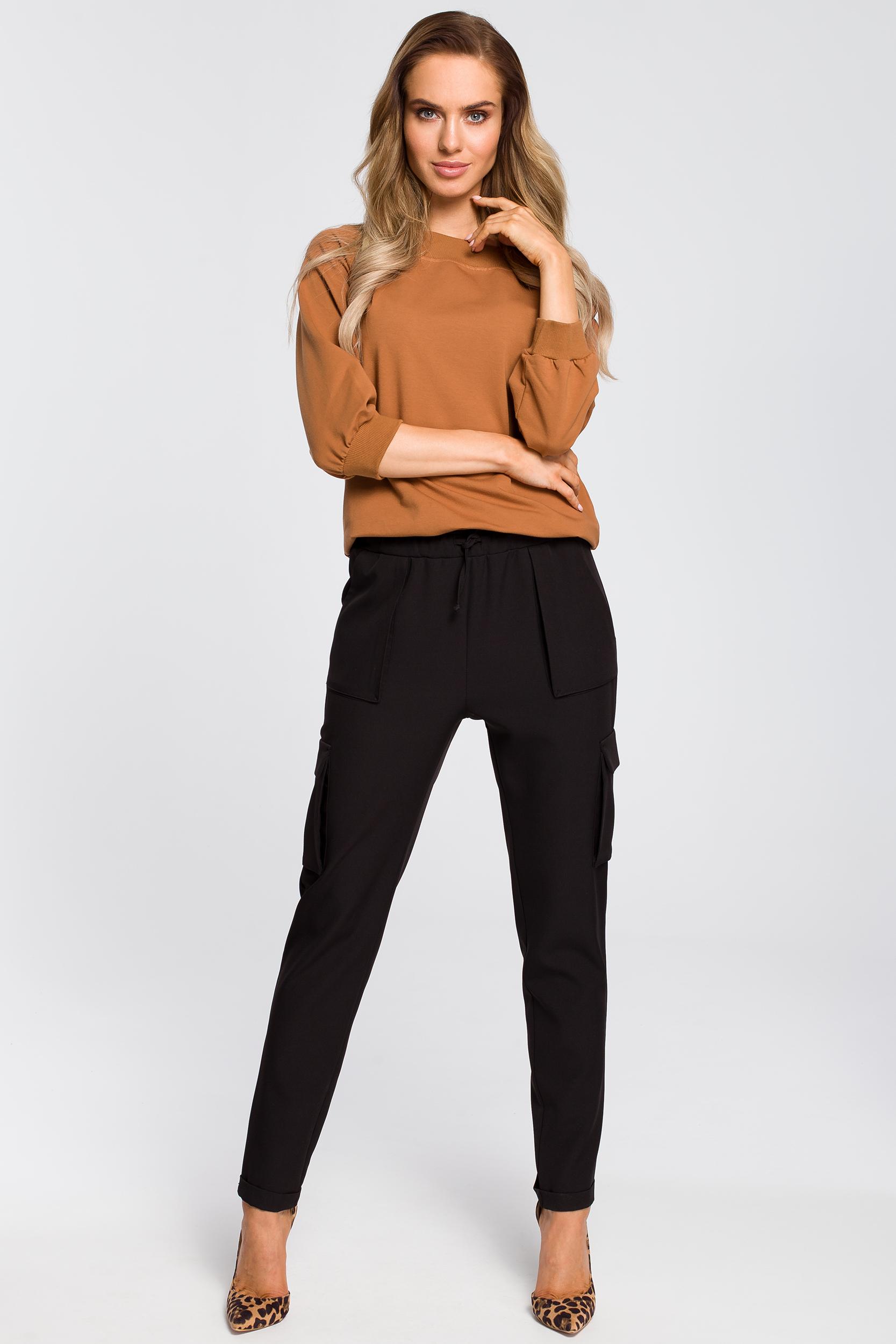 CM4106 Zwężane spodnie damskie z kieszeniami - czarne