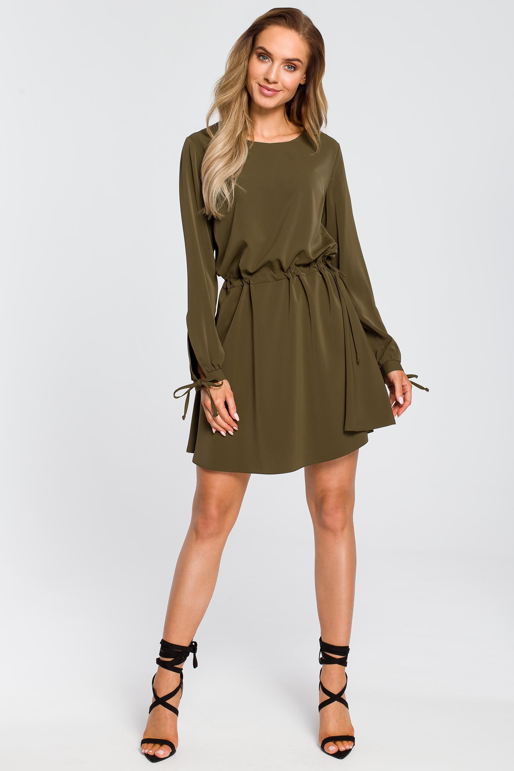 CM4107 Odcinana sukienka z długim rękawem - khaki