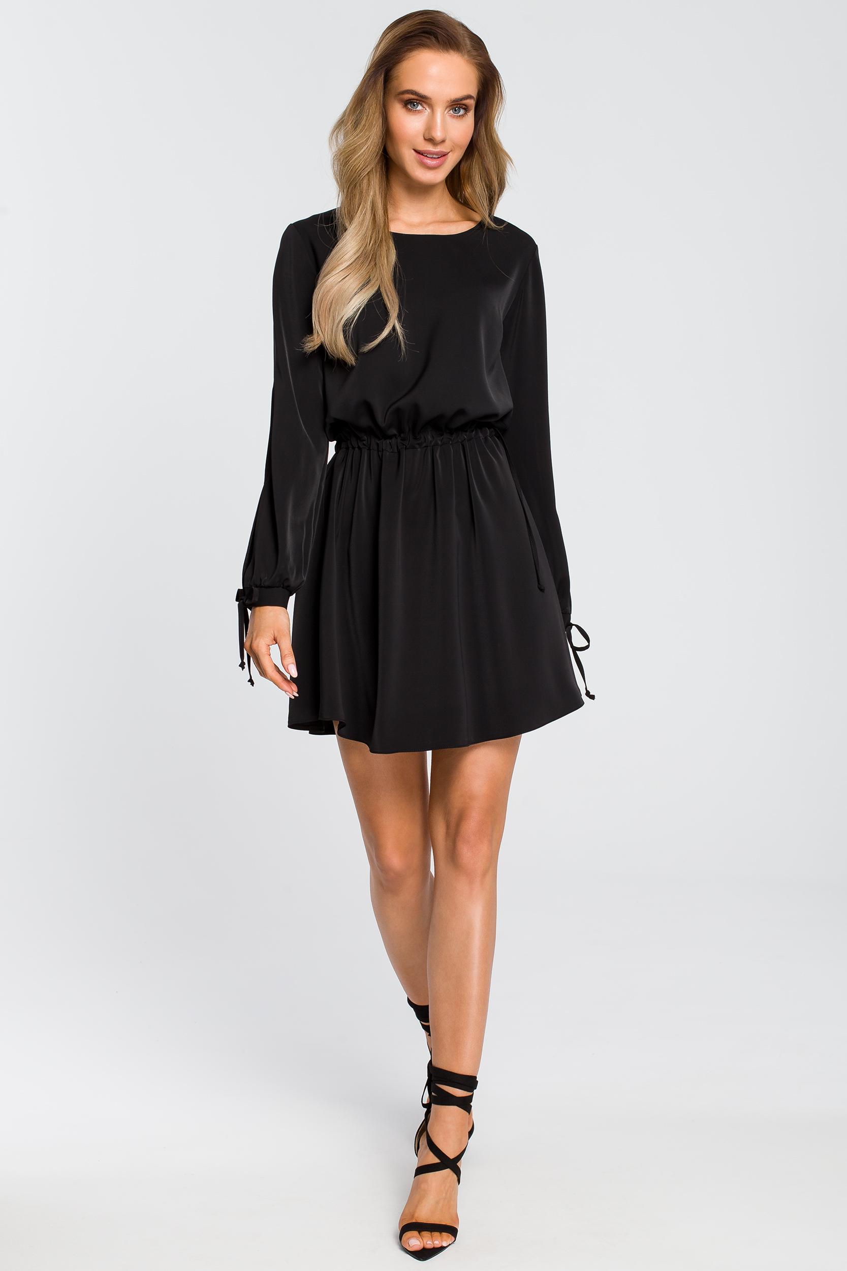 CM4107 Odcinana sukienka z długim rękawem - czarna