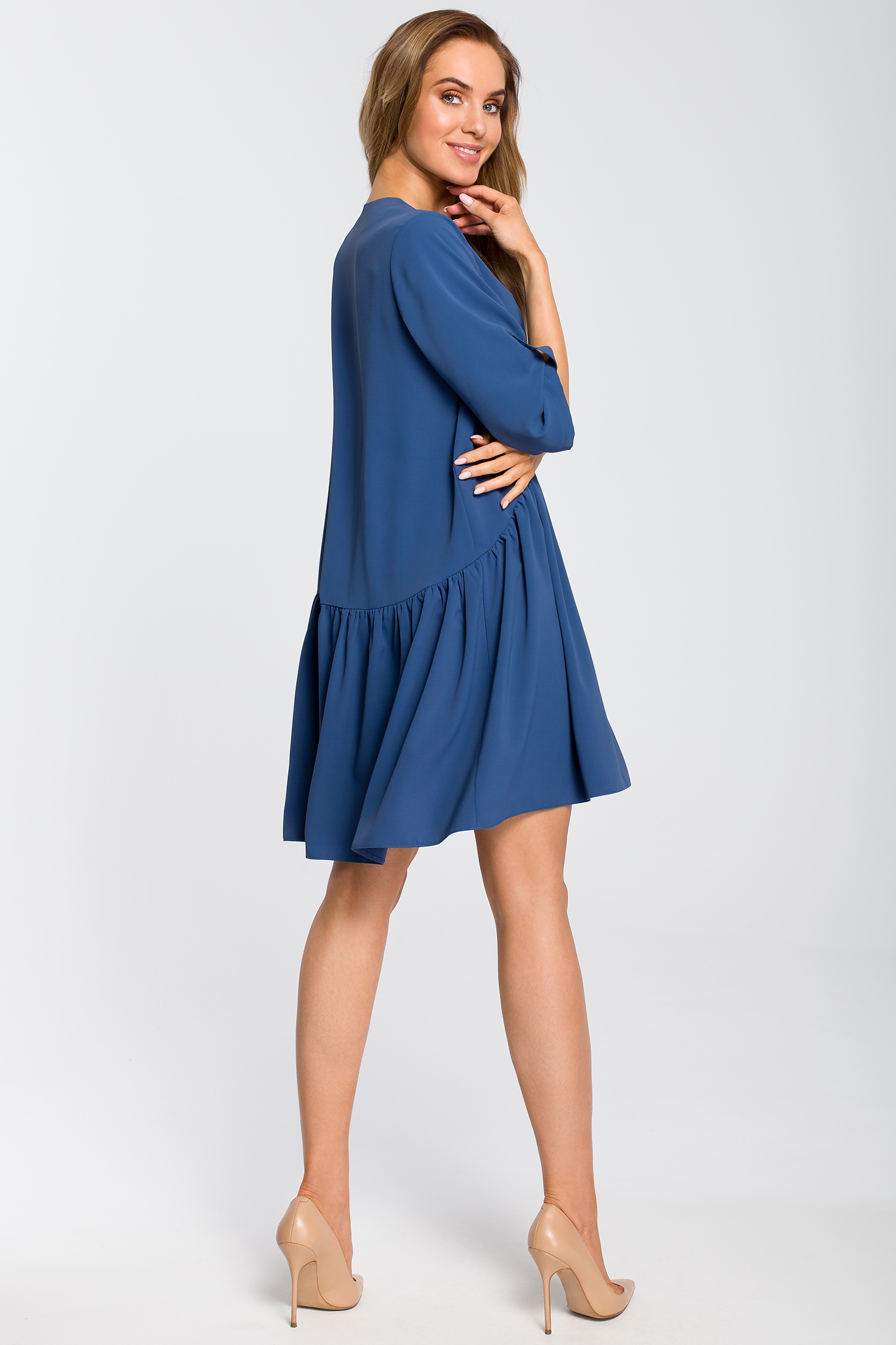 CM4108 Luźna sukienka rozkloszowana - niebieska