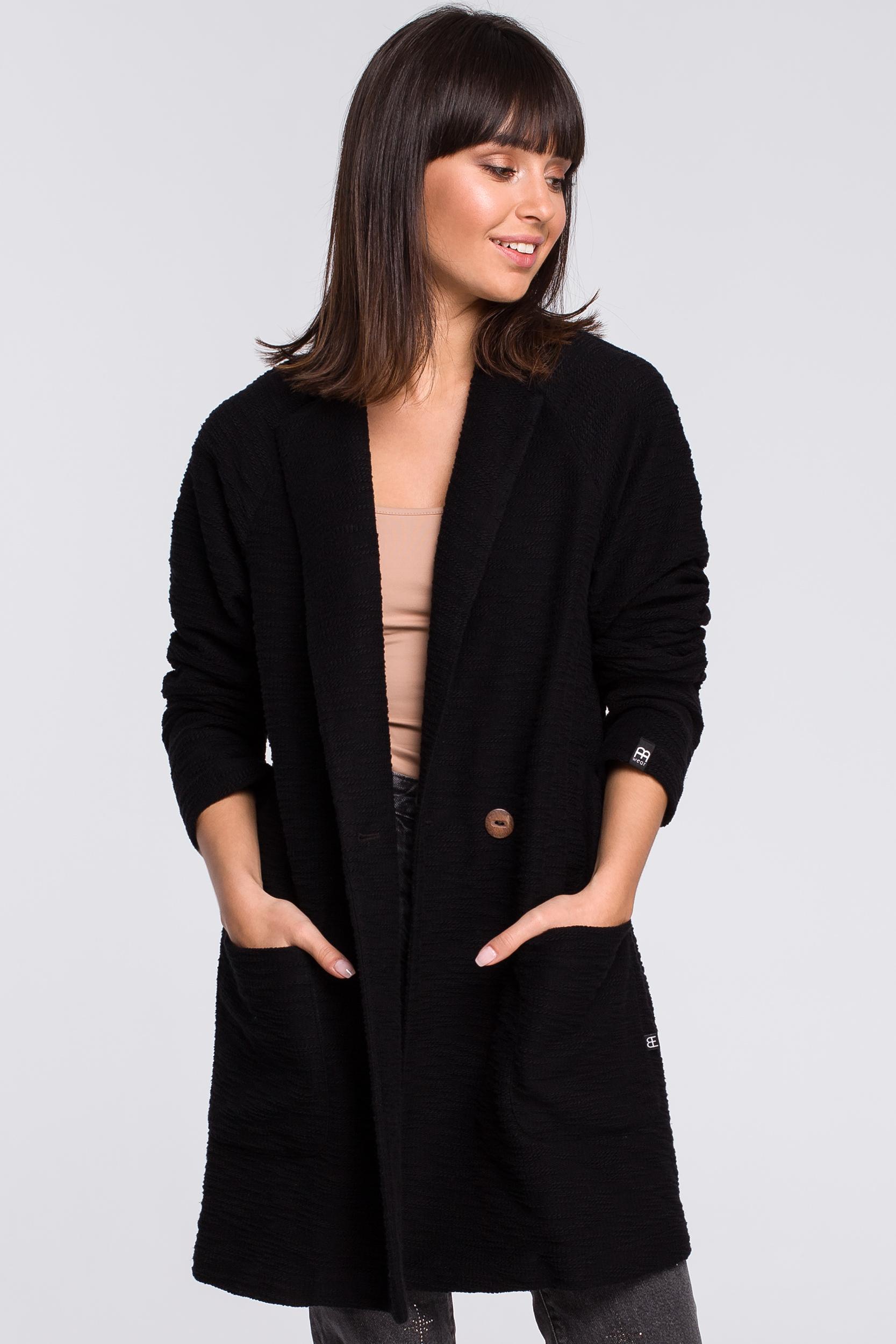 CM4113 Płaszcz na jeden guzik - czarny