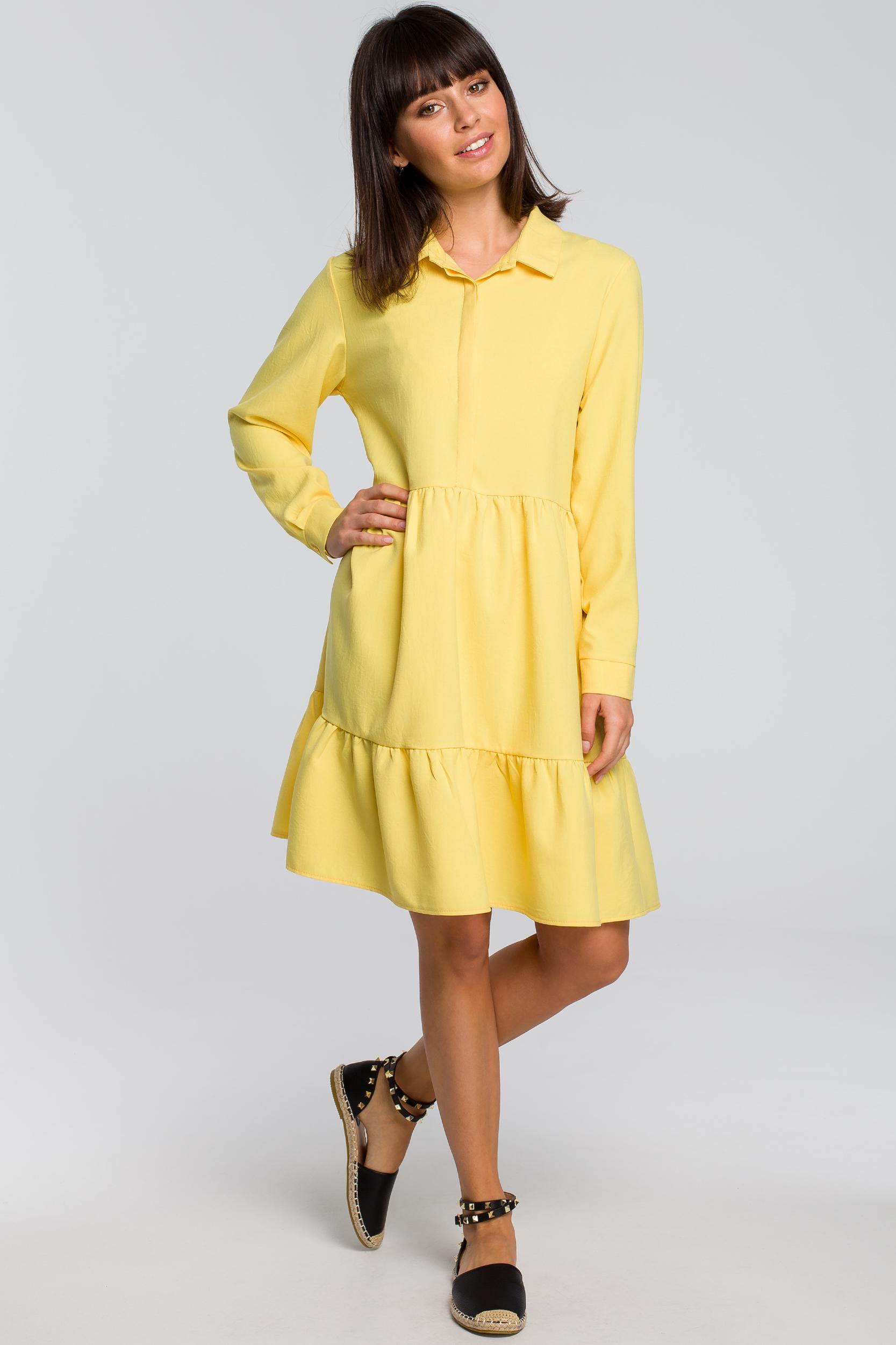 CM4124 Sukienka z trzech falban - żółta