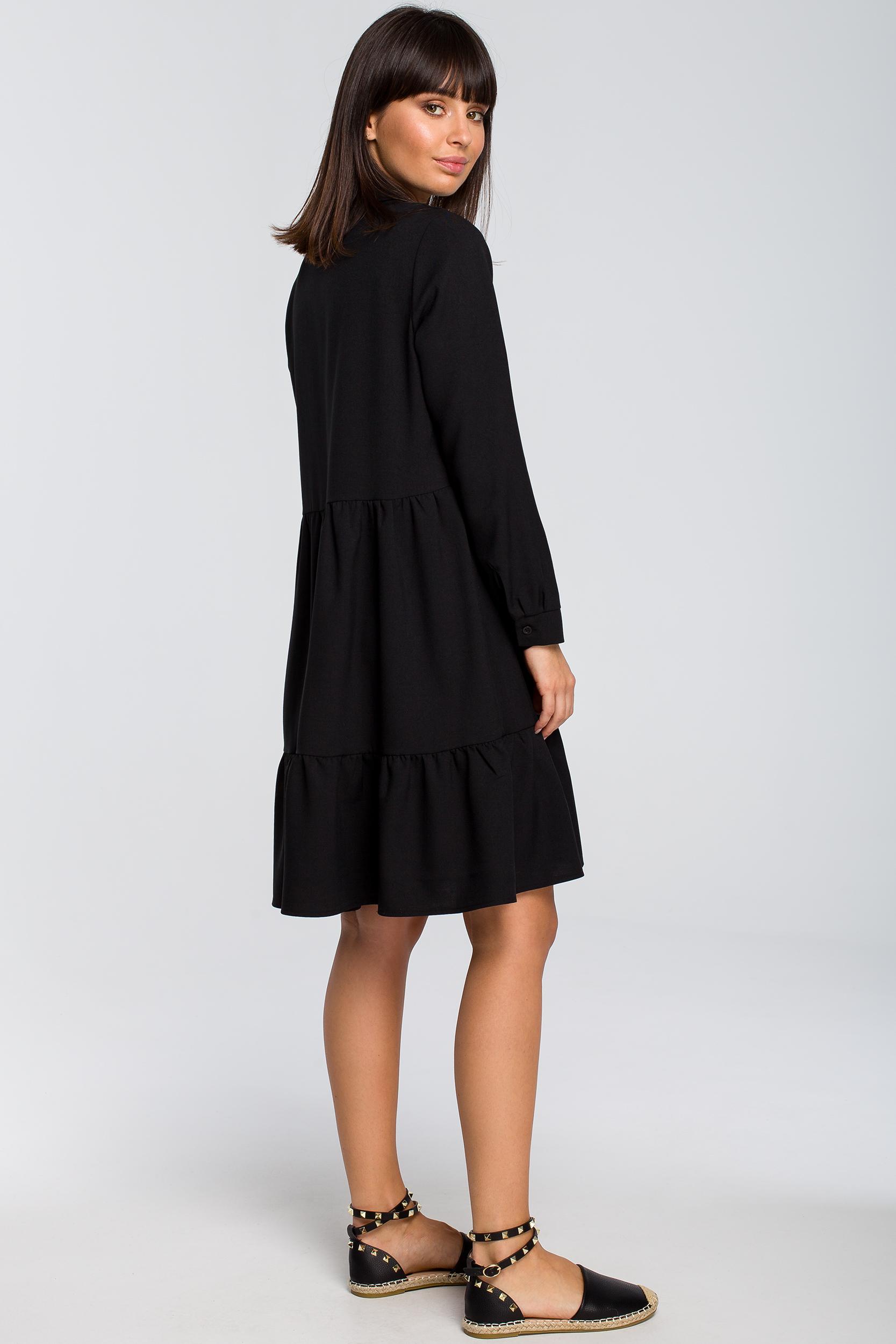 CM4124 Sukienka z trzech falban - czarna