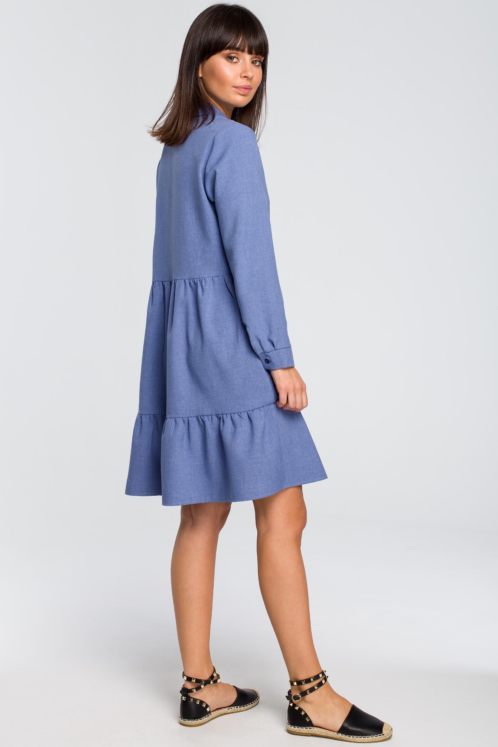 CM4124 Sukienka z trzech falban - niebieska