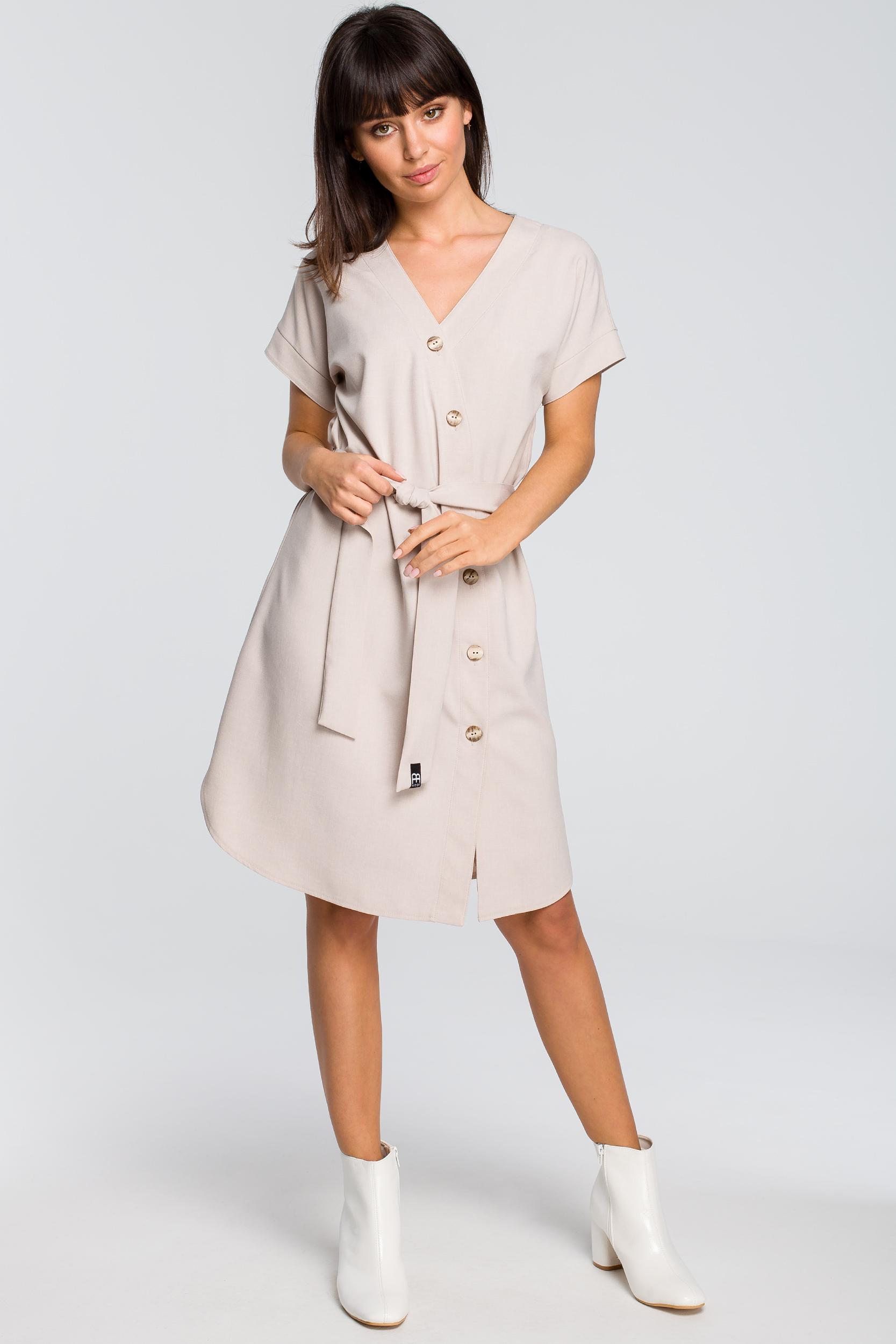 CM4125 Sukienka szmizjerka - beżowa