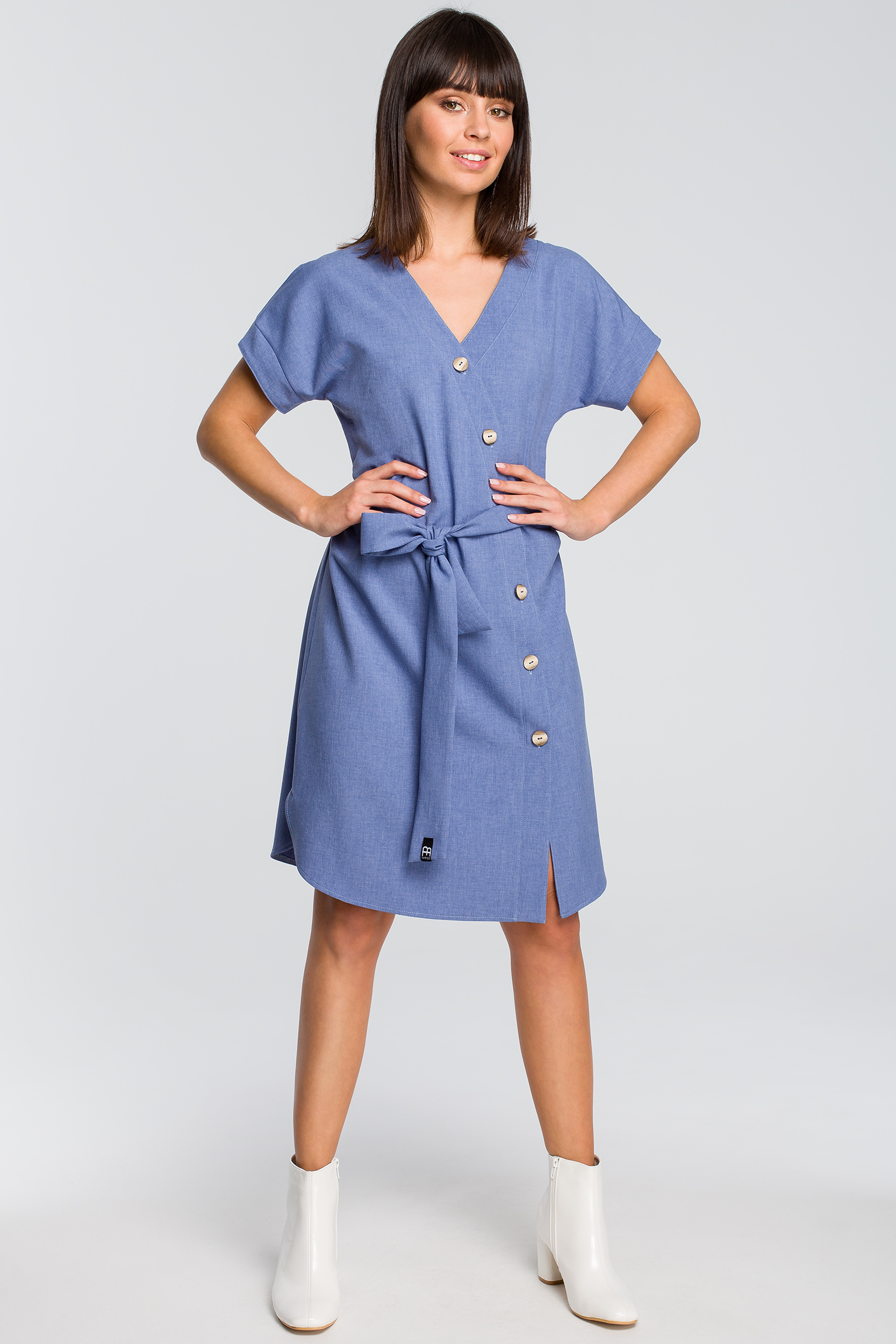 CM4125 Sukienka szmizjerka - niebieska