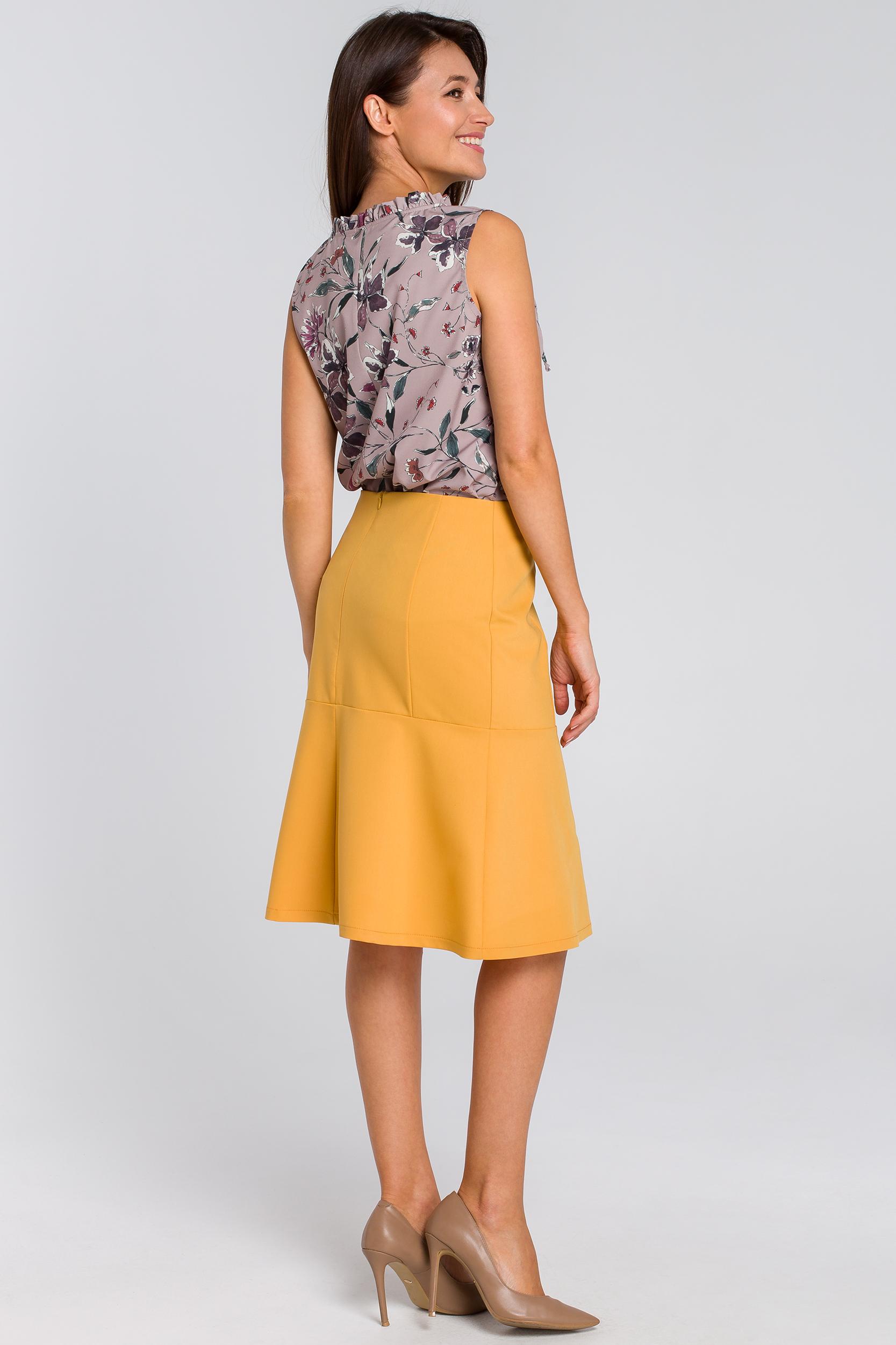 CM4129 Spódnica midi z karczkiem - żółta