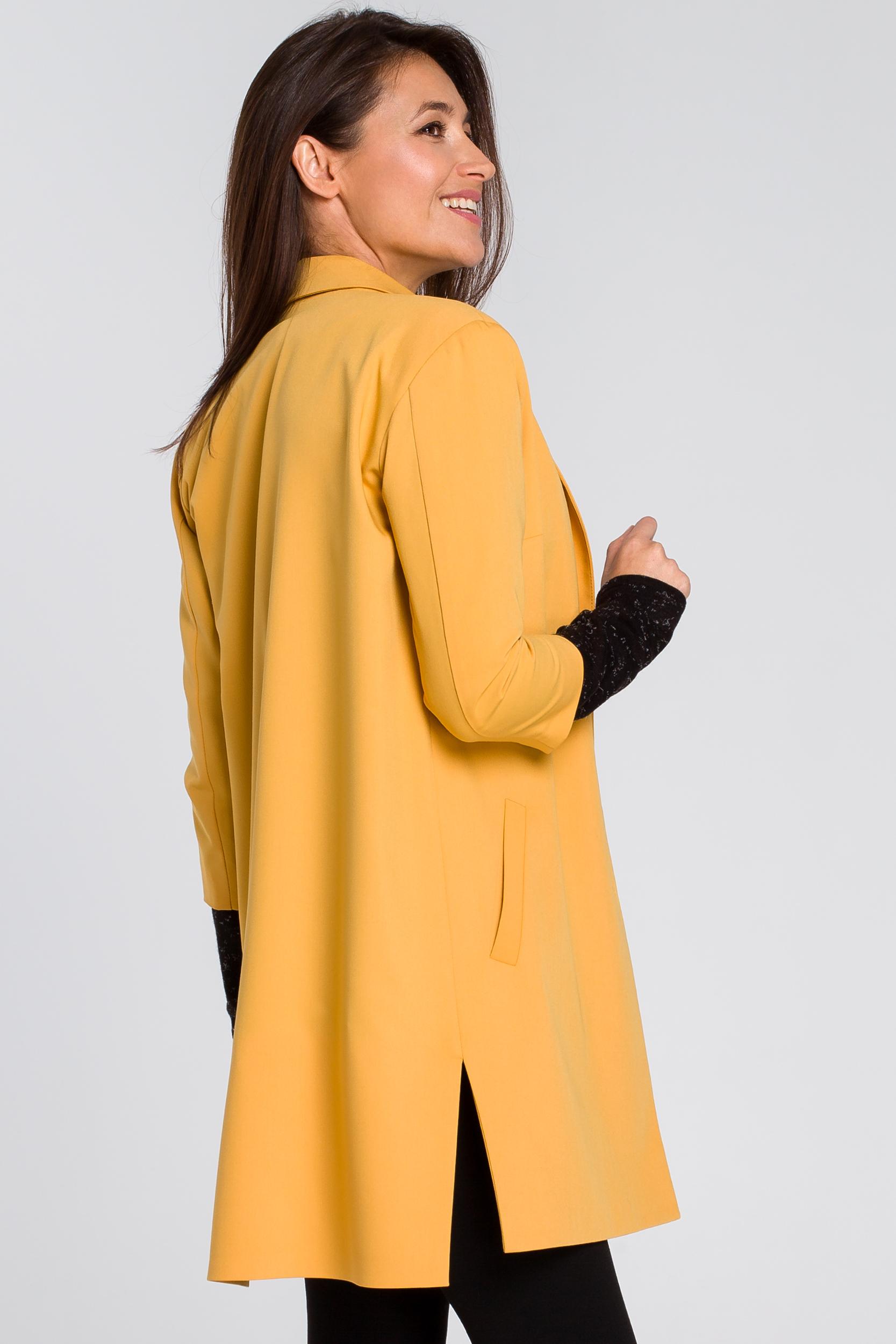 CM4130 Długi żakiet z rozcięciami na bokach - żółty