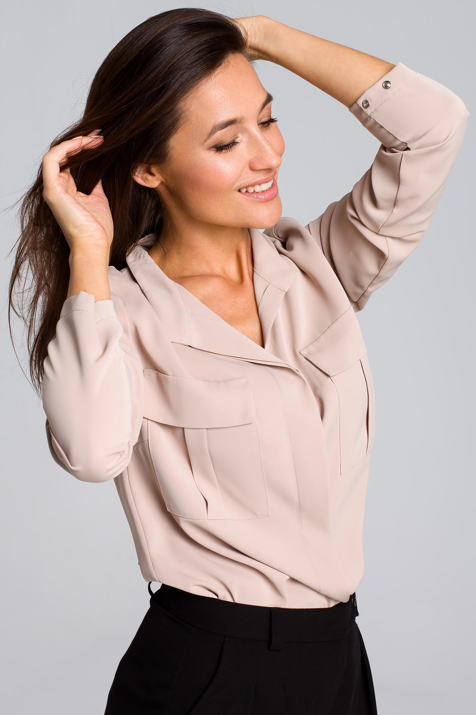 CM4132 Luźna bluzka koszulowa - beżowa