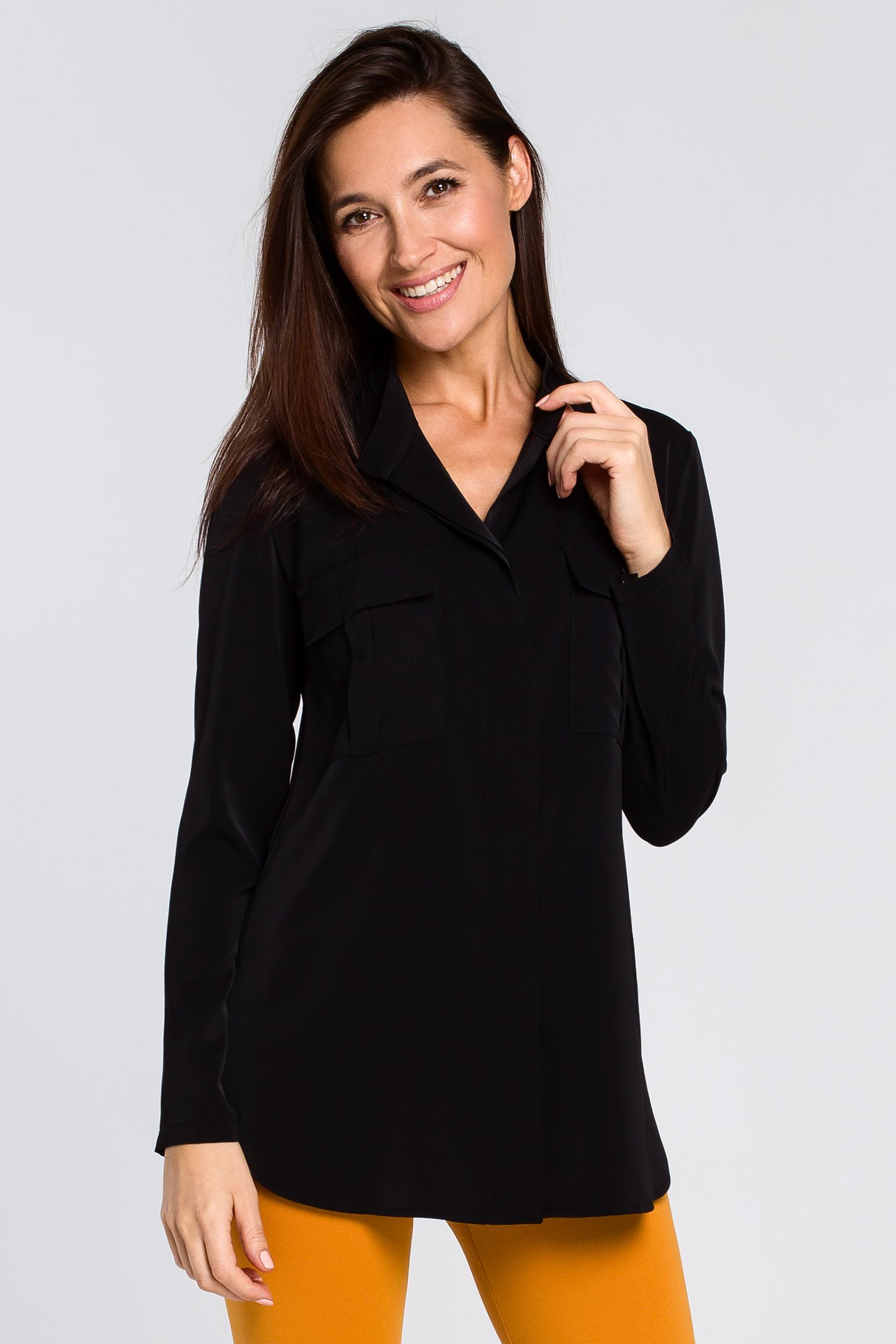 CM4132 Luźna bluzka koszulowa - czarna