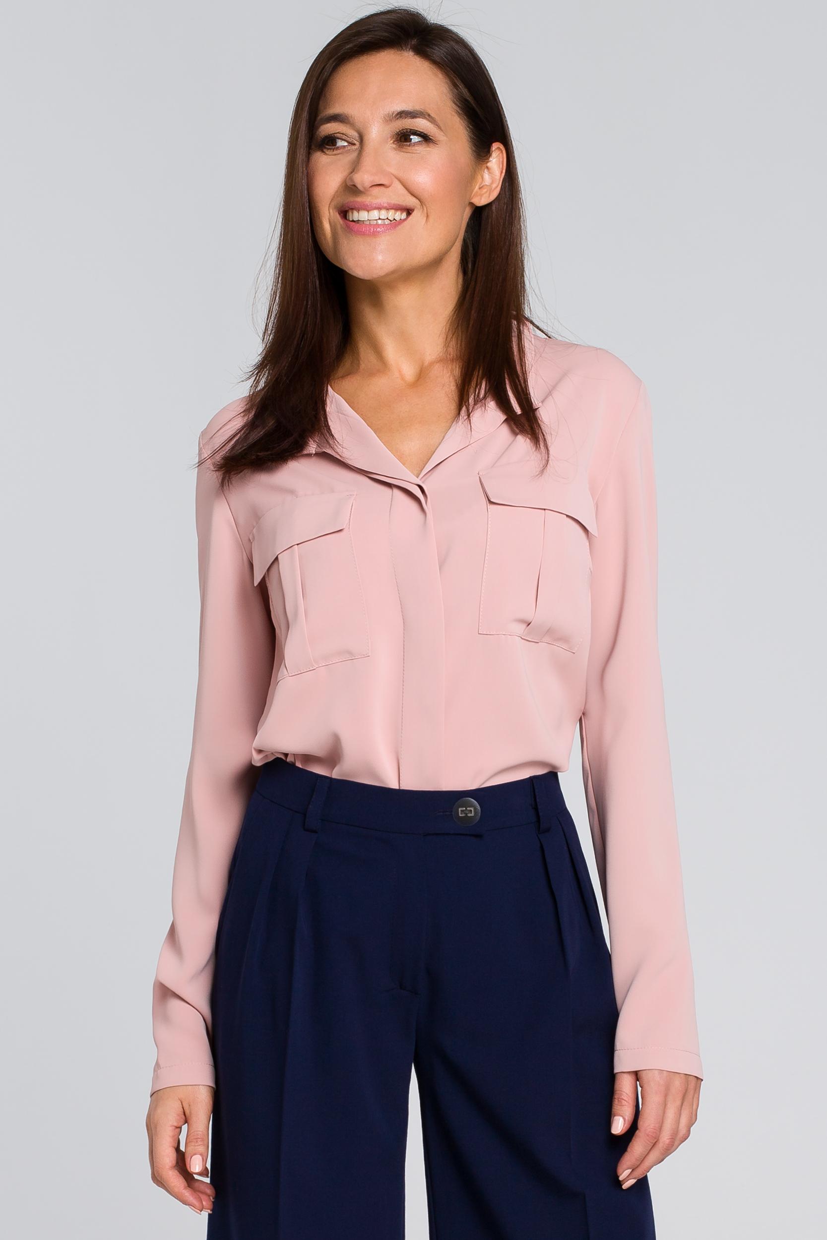 CM4132 Luźna bluzka koszulowa - pudrowa