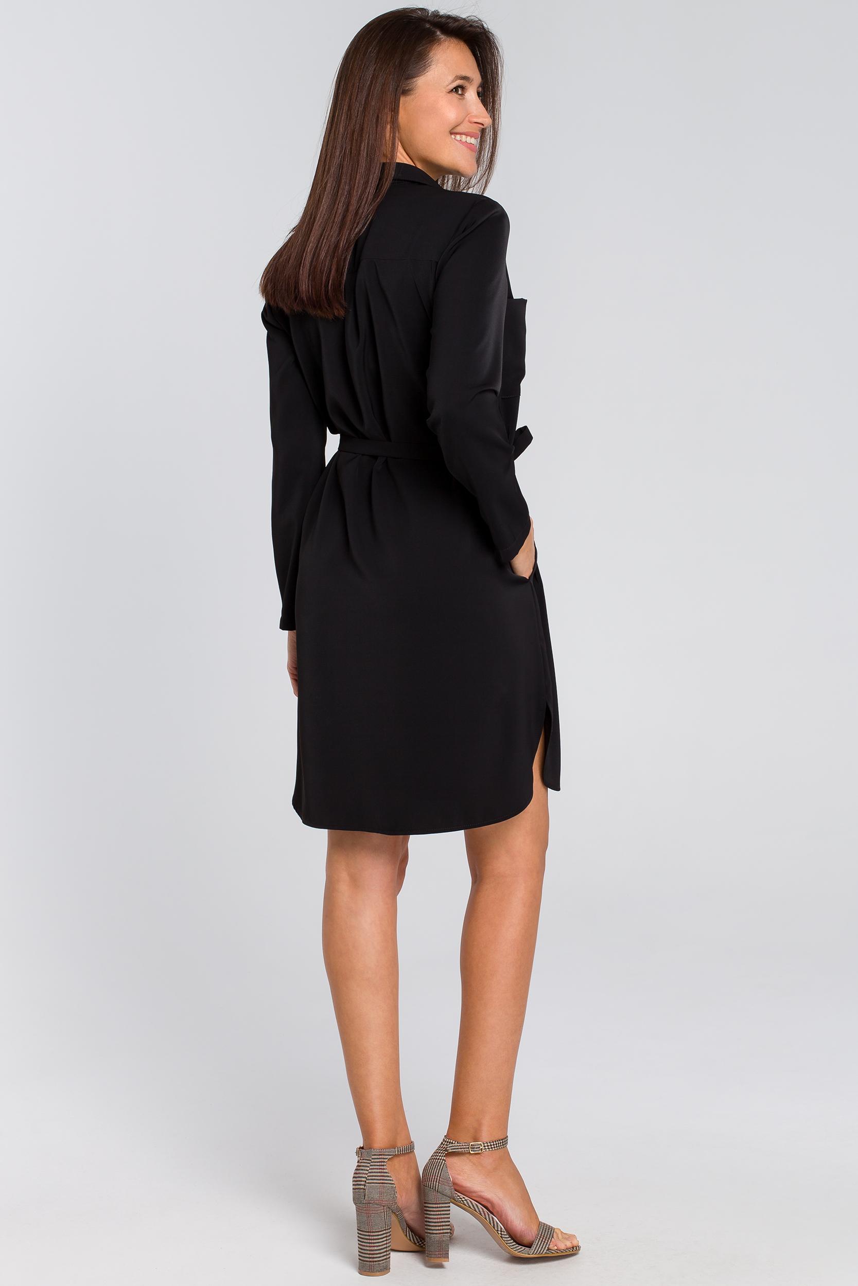 CM4133 Sukienka koszulowa z kieszeniami i paskiem - czarna