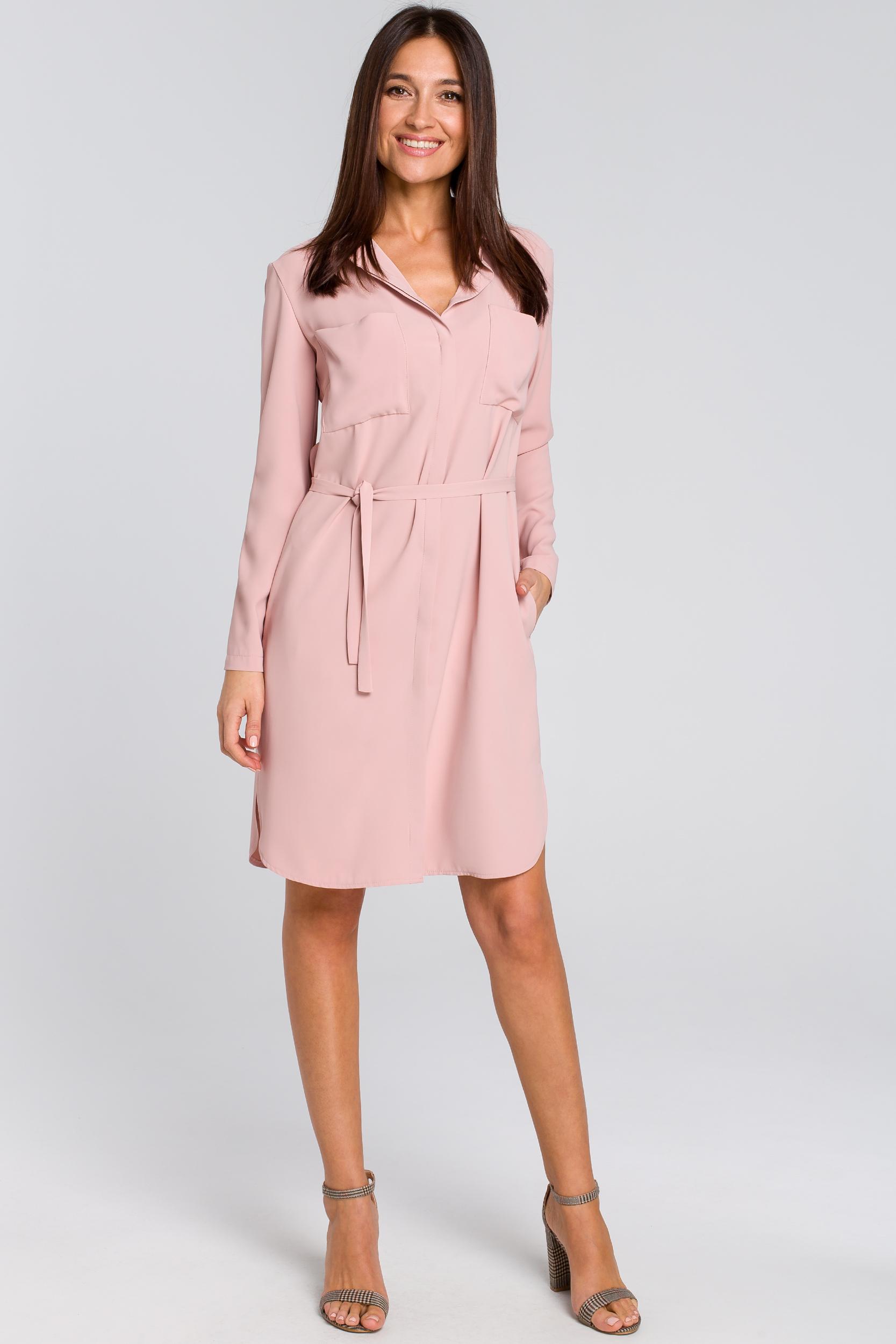 CM4133 Sukienka koszulowa z kieszeniami i paskiem - pudrowa