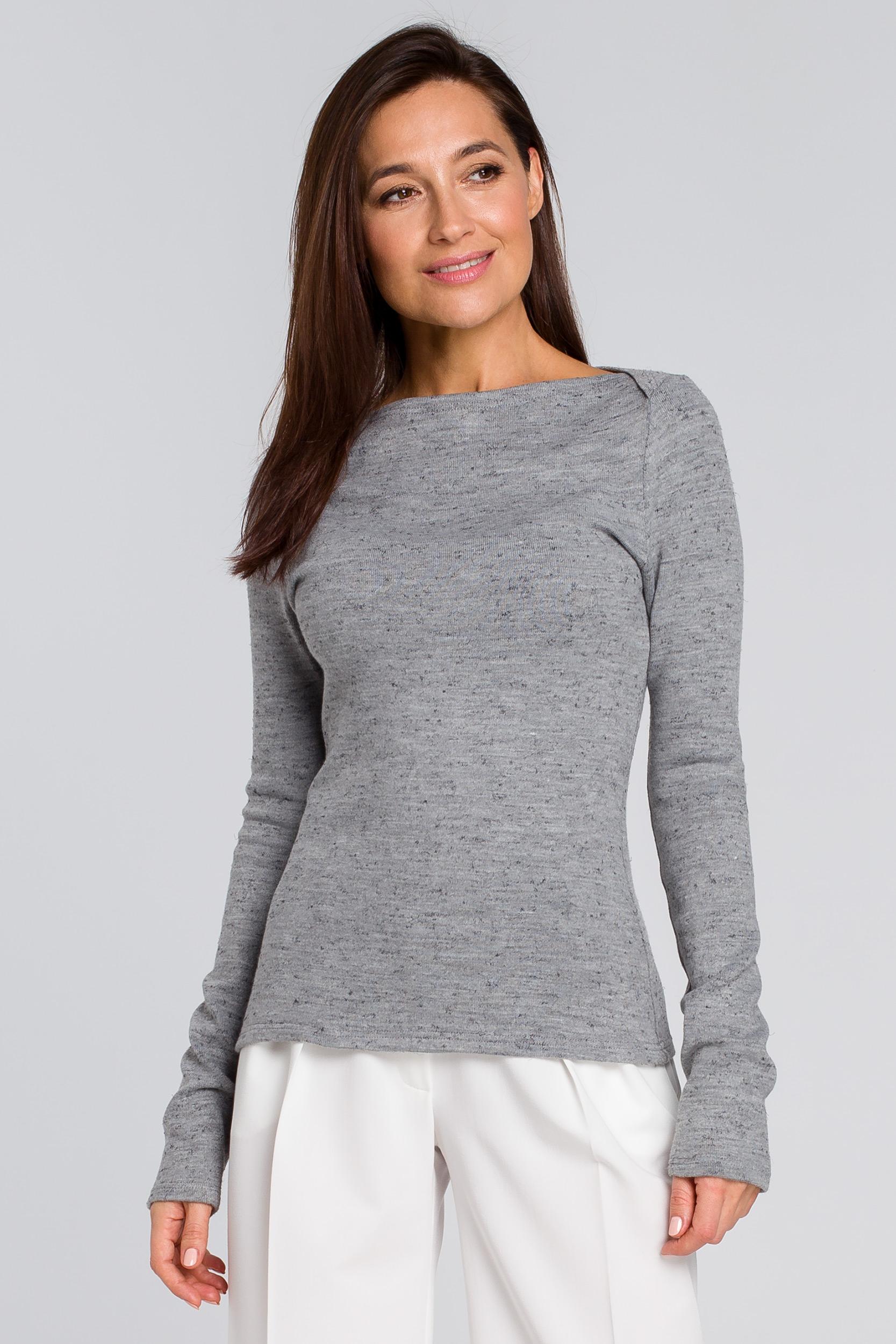 CM4136 Klasyczny sweterek delikatnie dopasowany - szary