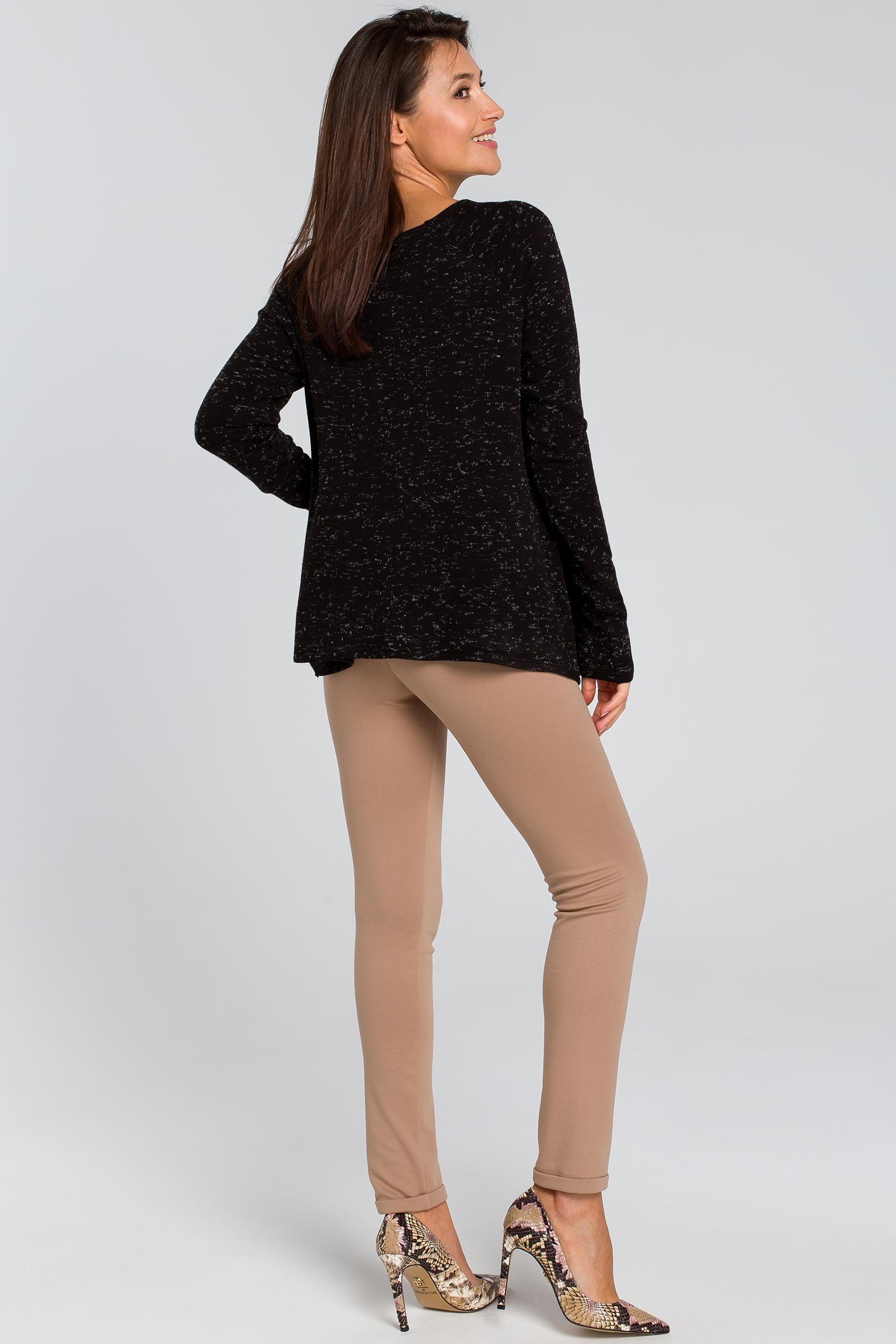 CM4137 Luźny asymetryczny sweter - czarny