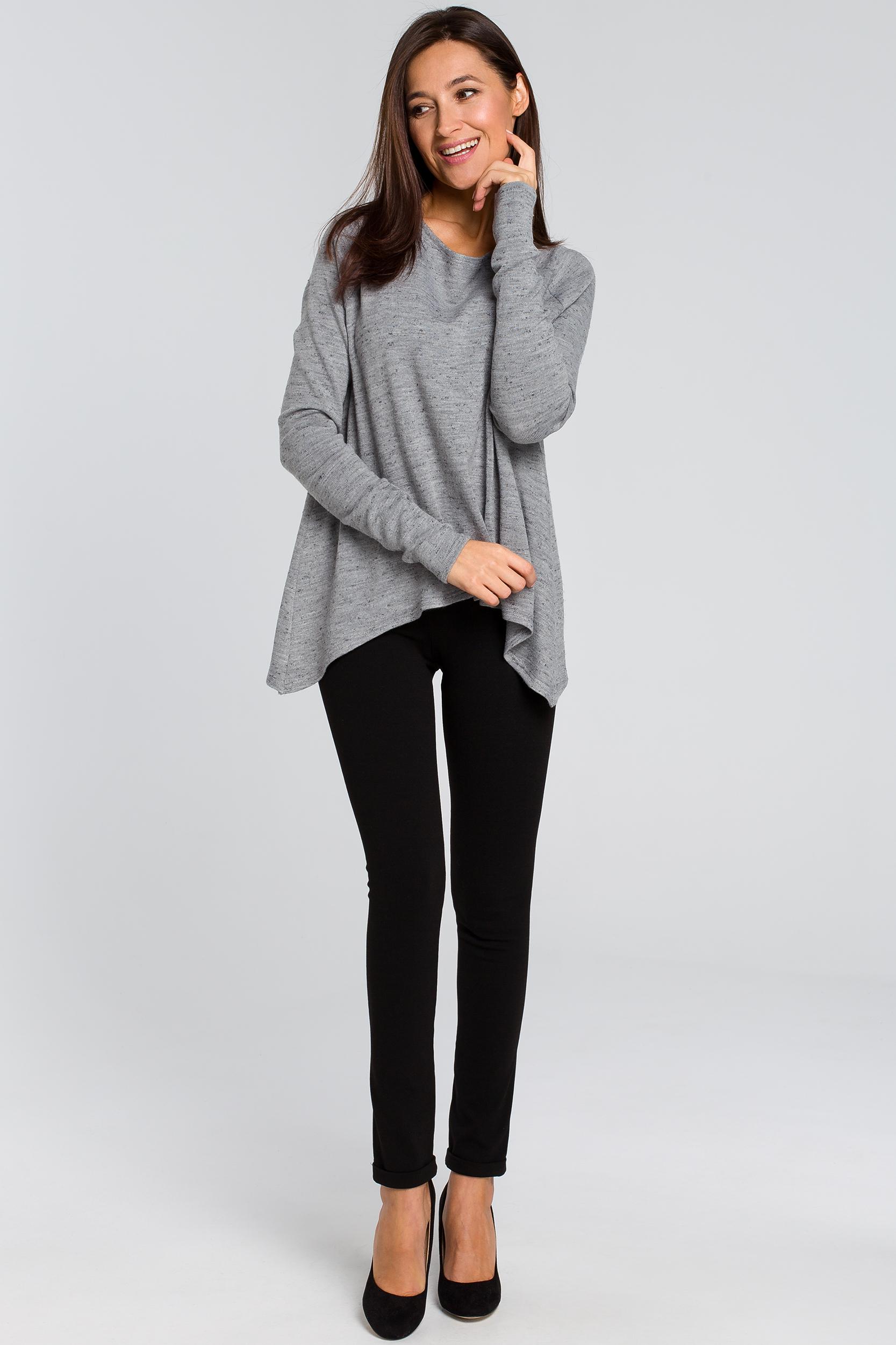CM4137 Luźny asymetryczny sweter - szary