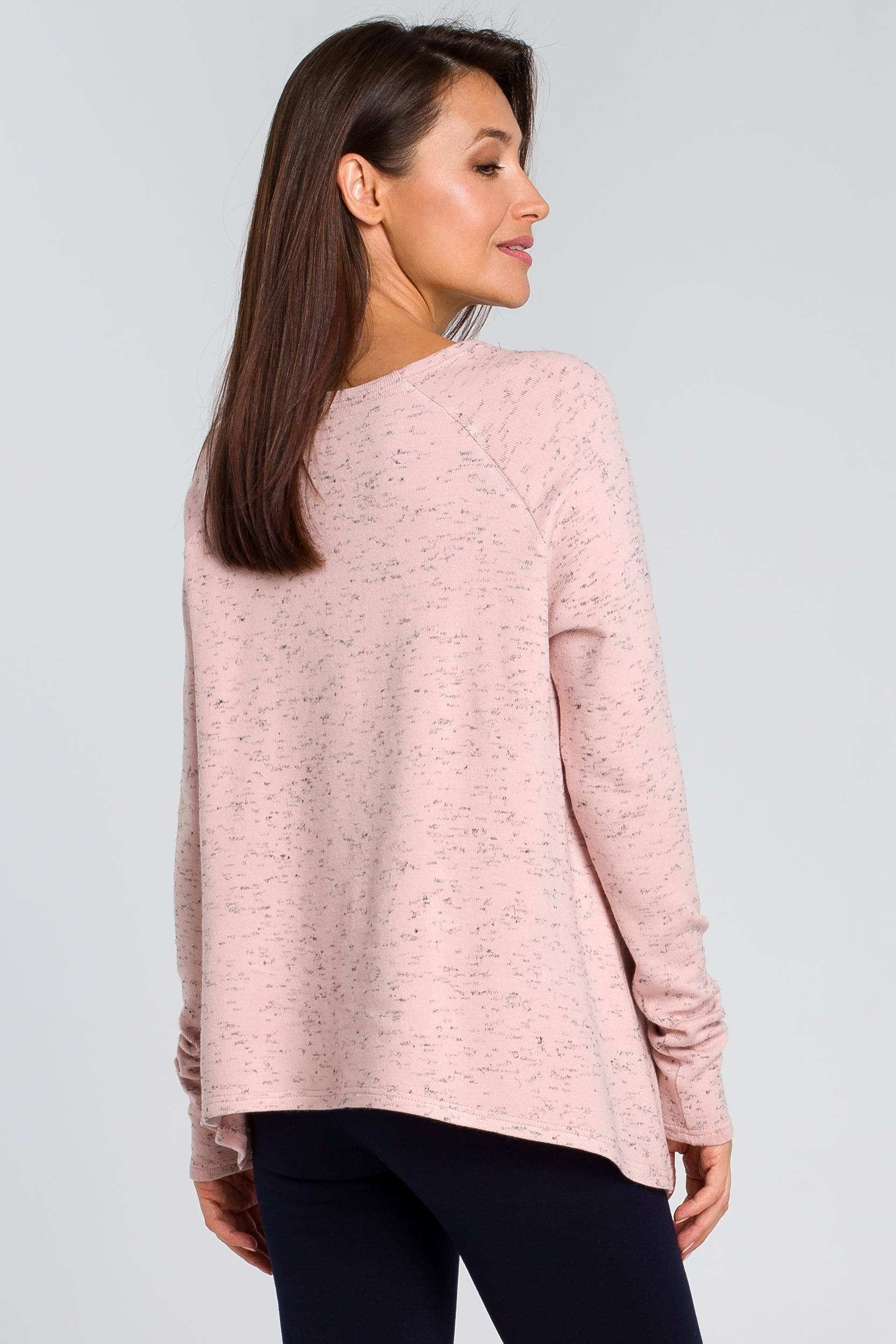 CM4137 Luźny asymetryczny sweter - różowy