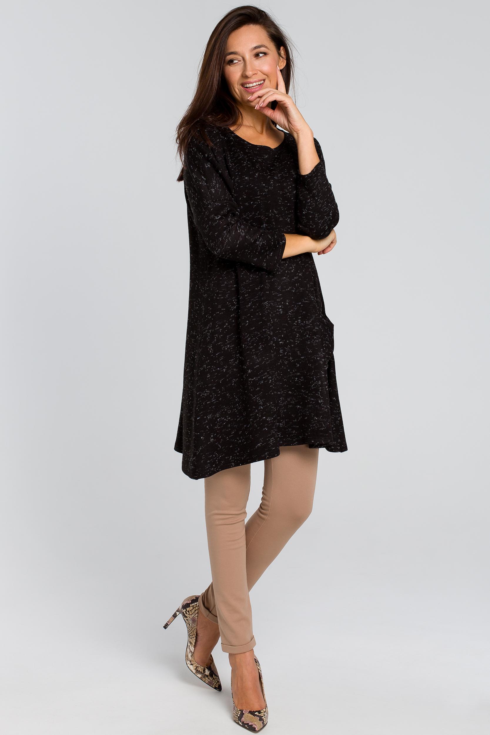 CM4139 Dzianinowa tunika swetrowa - czarna