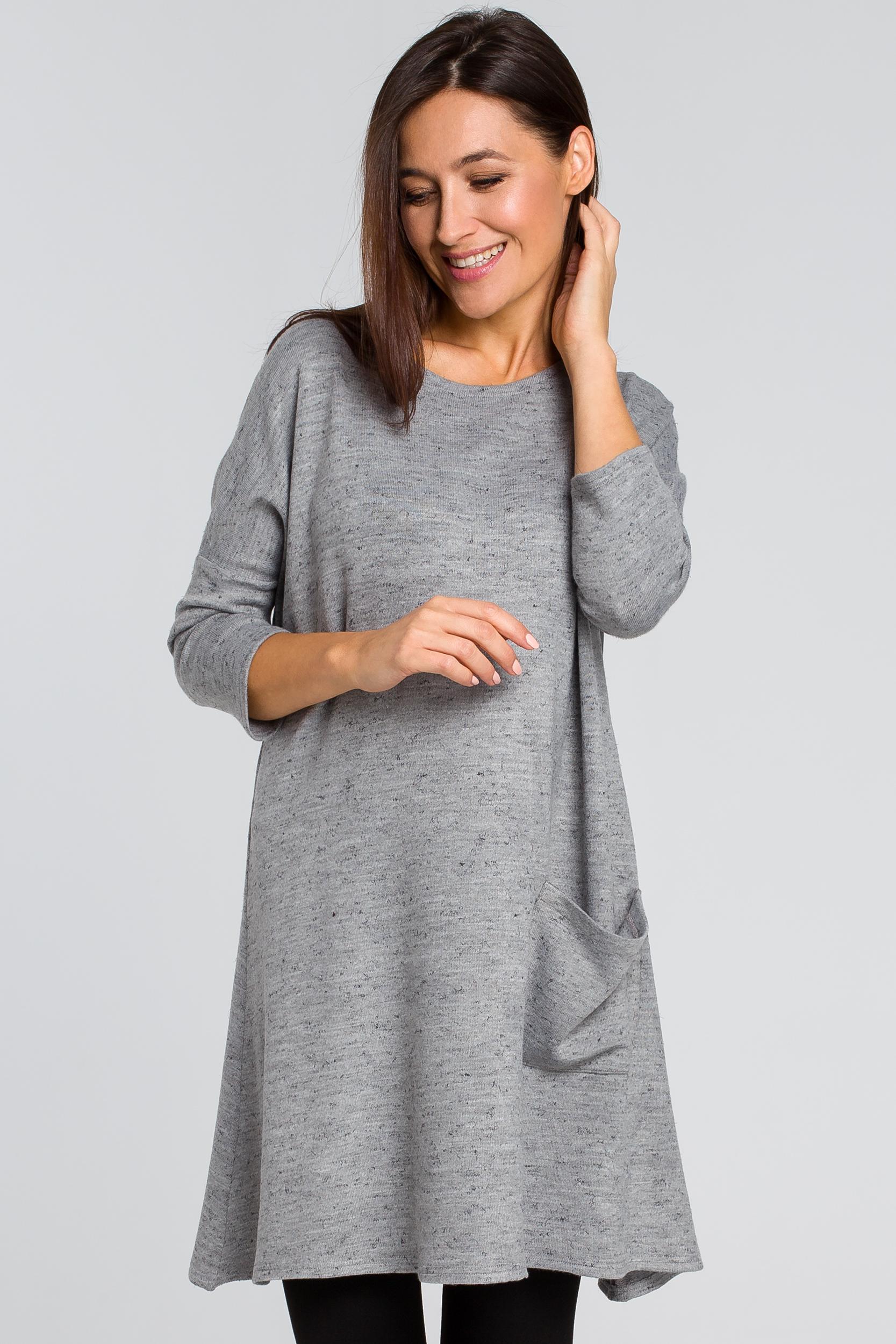 CM4139 Dzianinowa tunika swetrowa - szara