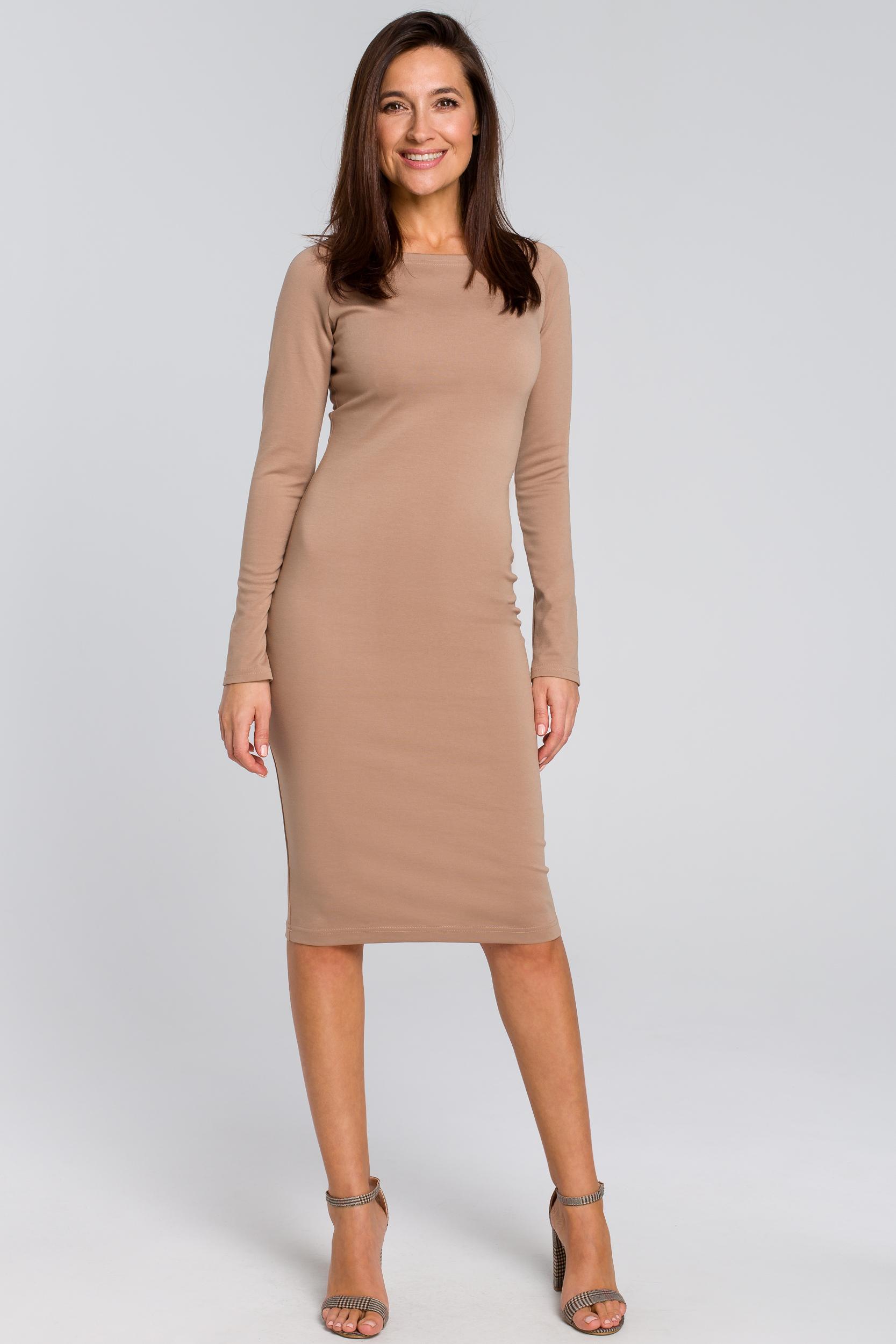 CM4140 Dopasowana sukienka ołówkowa - beżowa