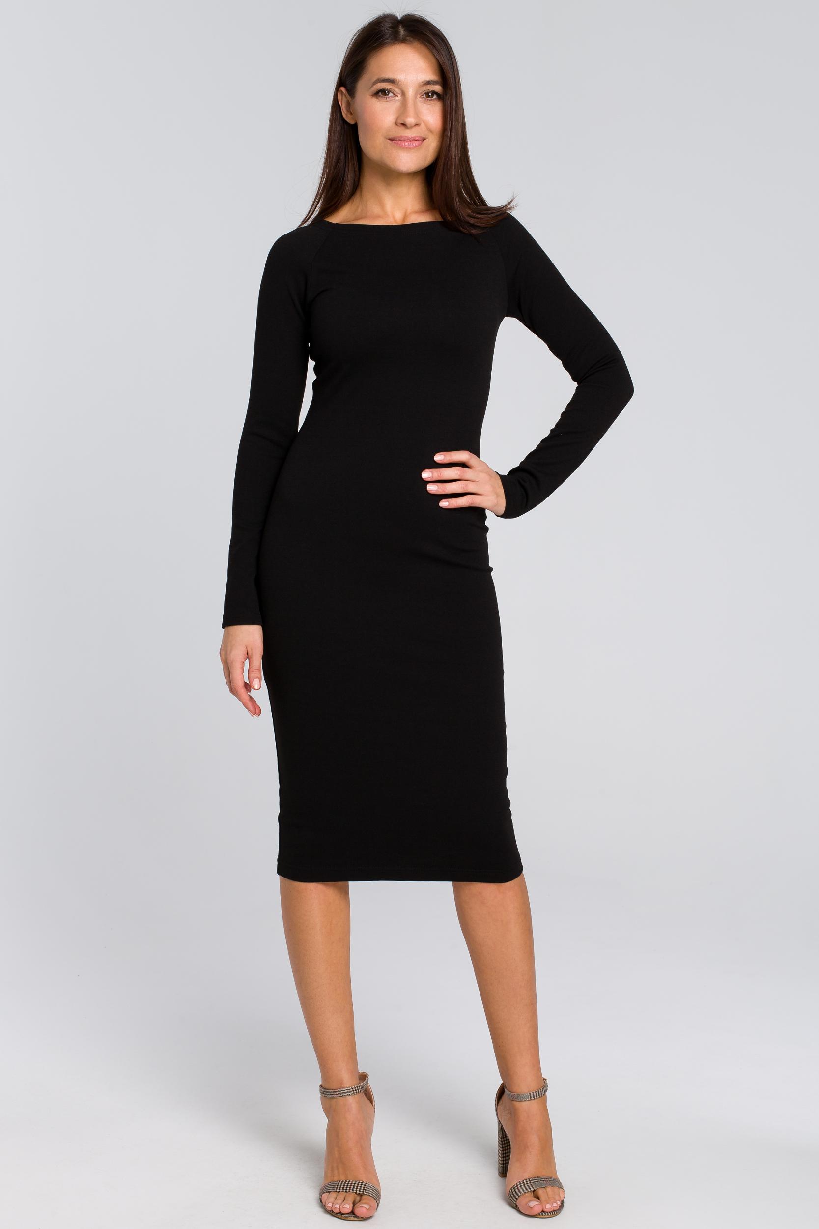 CM4140 Dopasowana sukienka ołówkowa - czarna