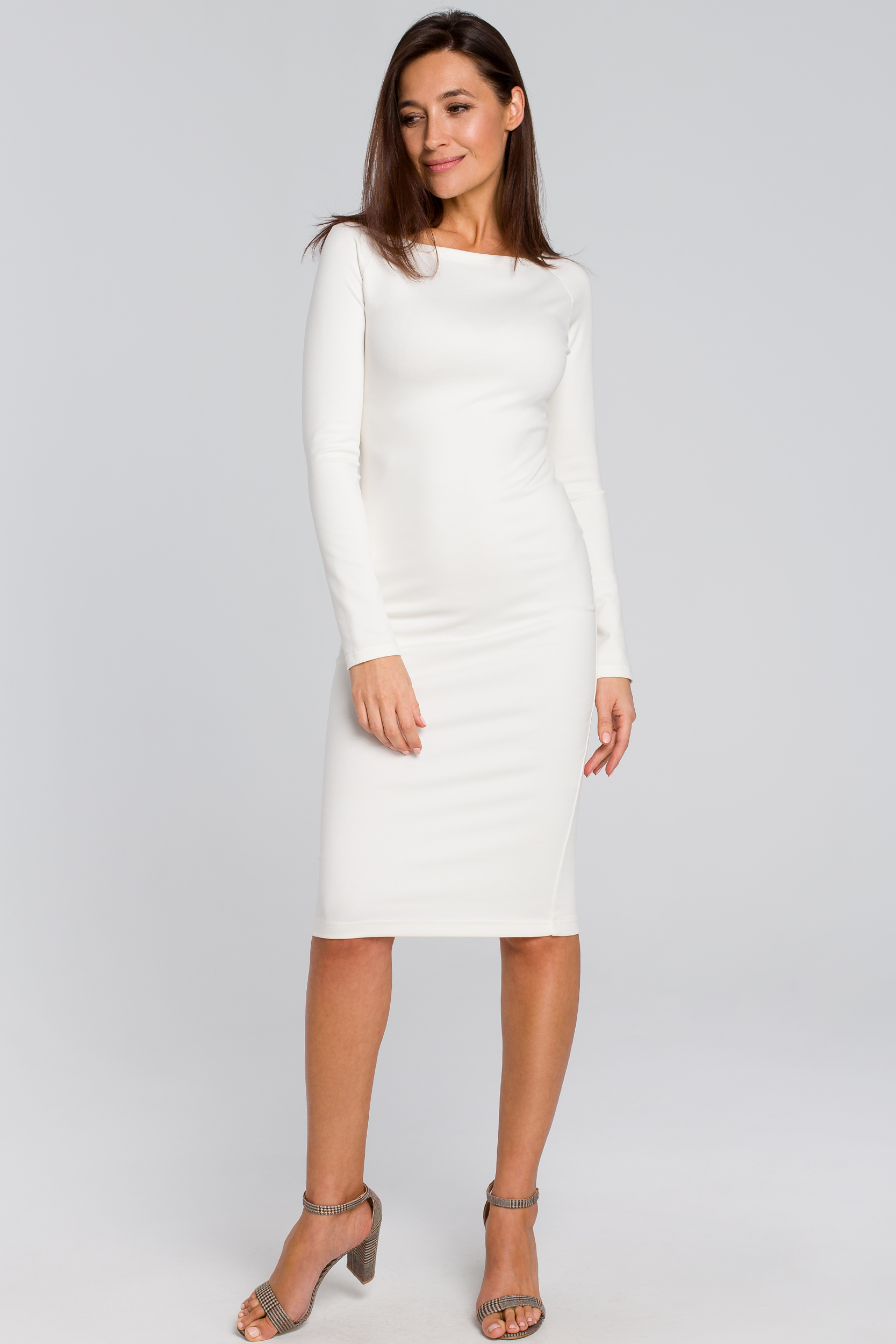 CM4140 Dopasowana sukienka ołówkowa - ecru
