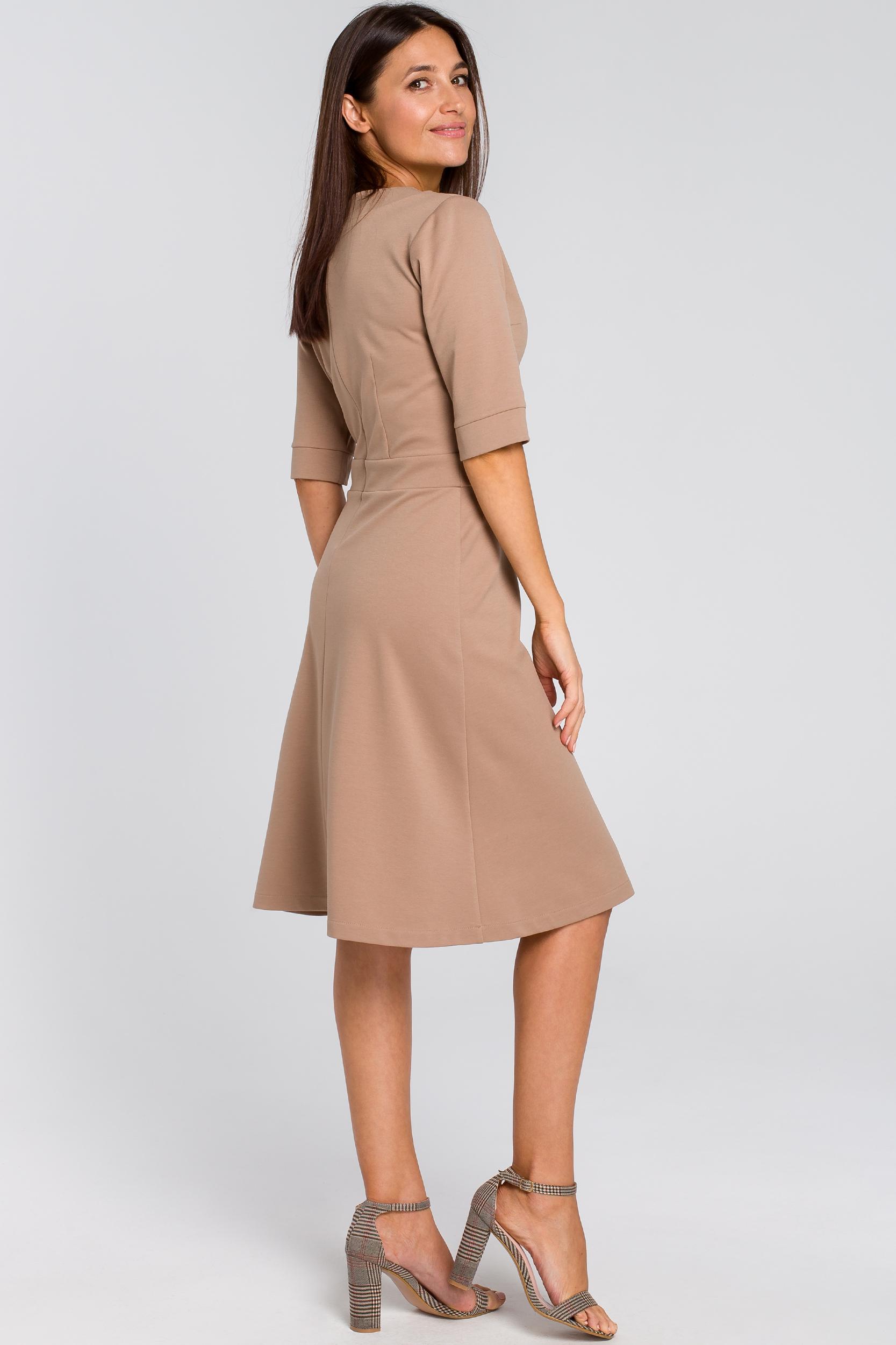 CM4141 Sukienka midi z krótkim rękawem - beżowa