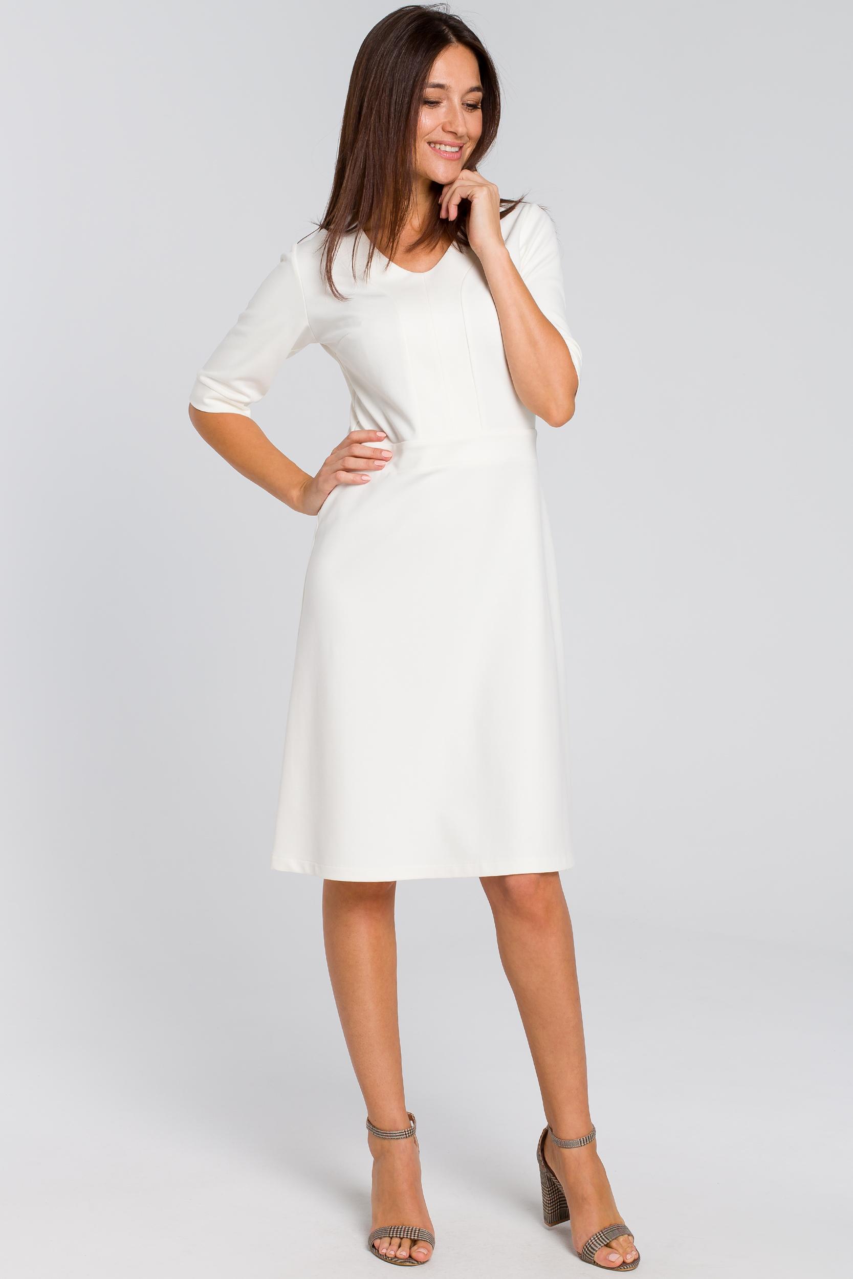 CM4141 Sukienka midi z krótkim rękawem - ecru