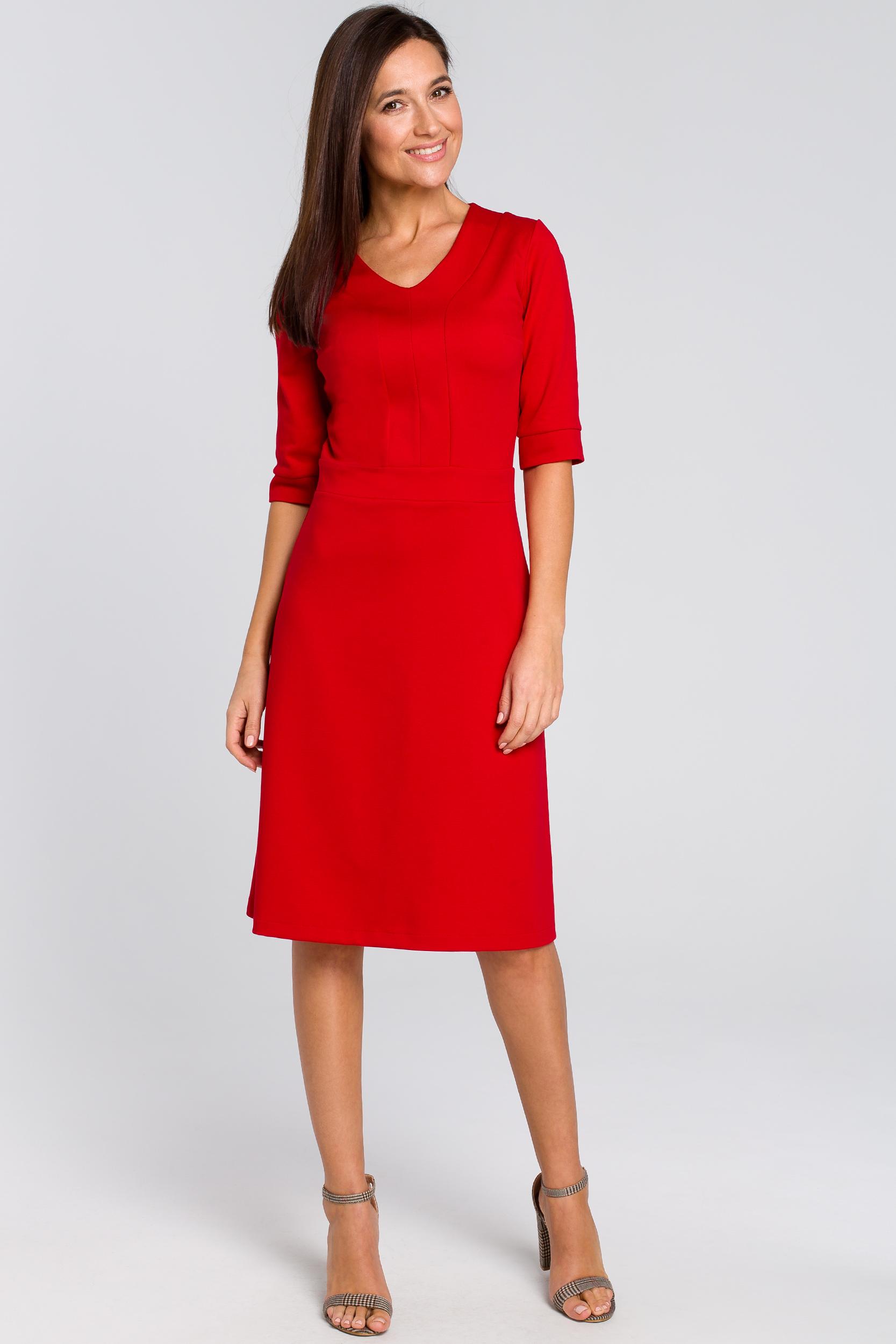 CM4141 Sukienka midi z krótkim rękawem - czerwona