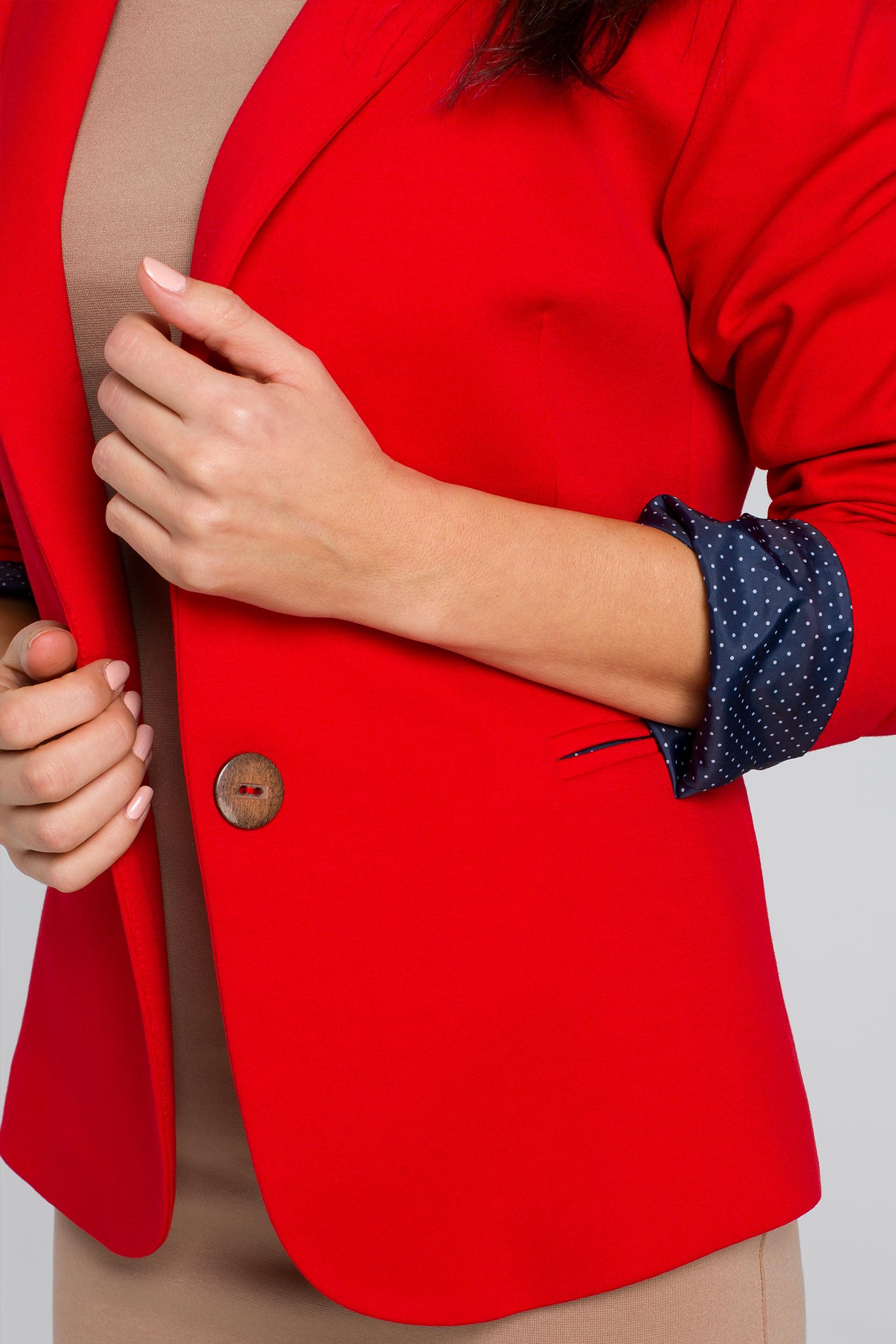 CM4142 Krótki stylowy zapinany żakiet - czerwony