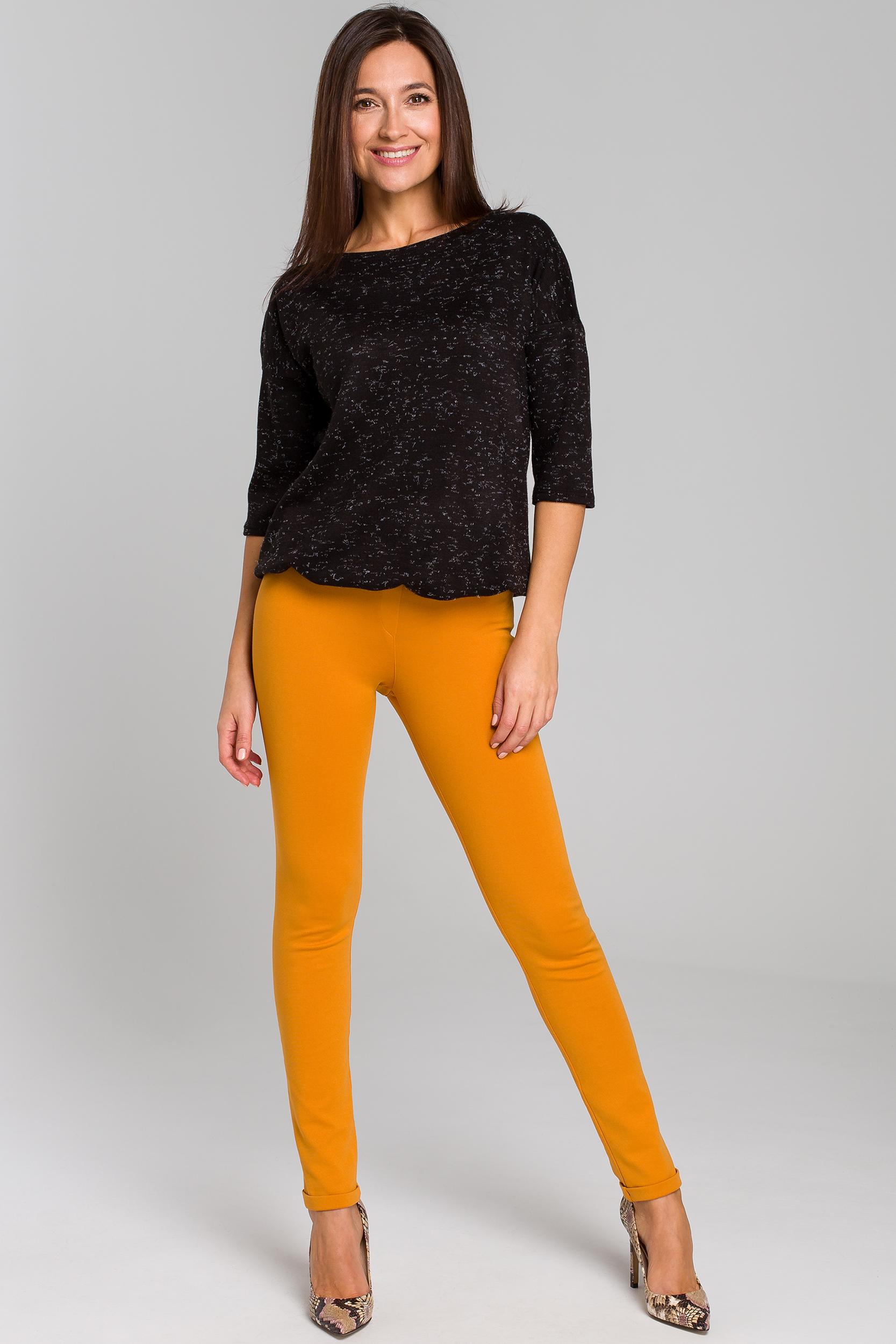 CM4143 Proste spodnie typu rurki - żółte