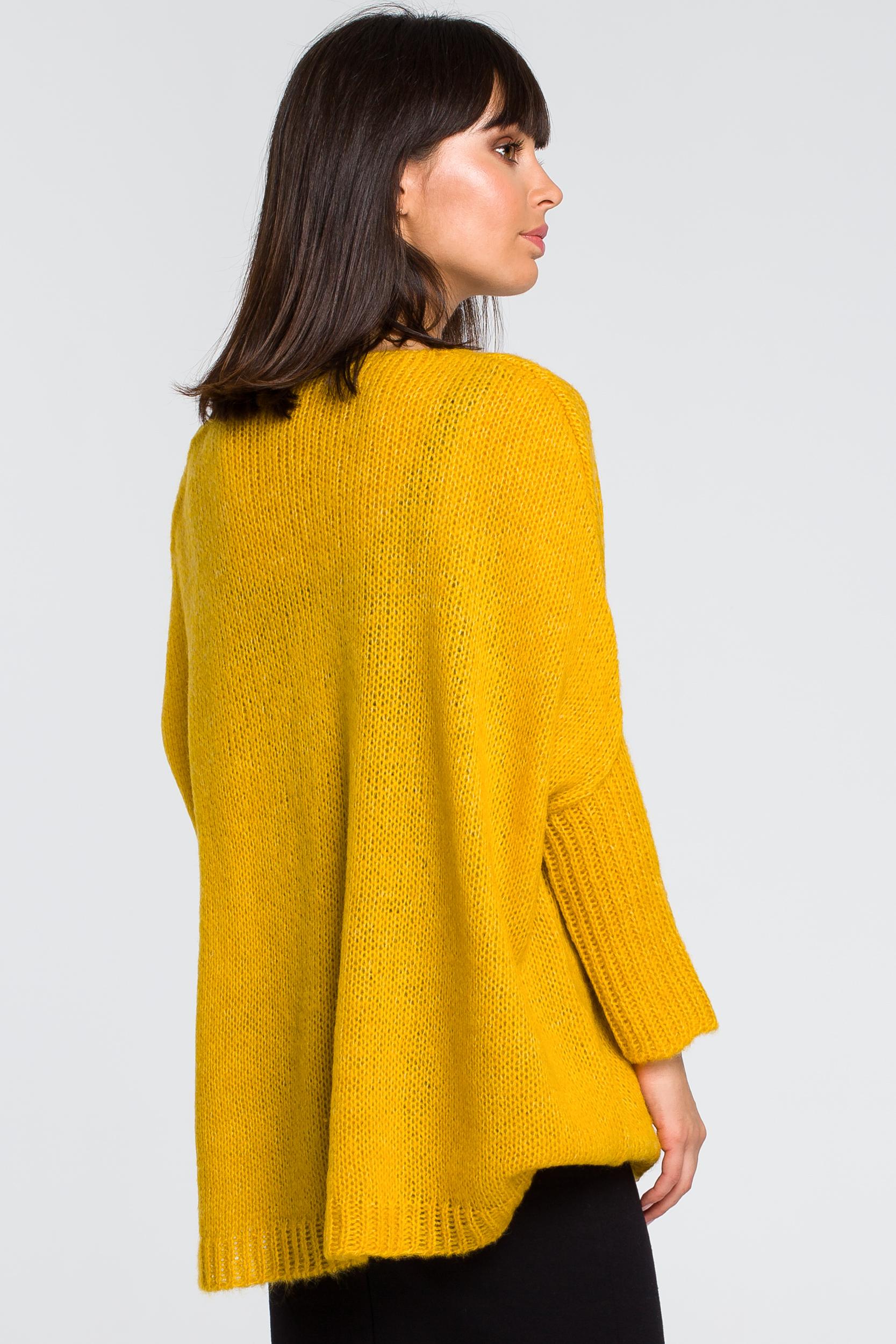 CM4145 Luźny sweter z kieszenią - miodowy