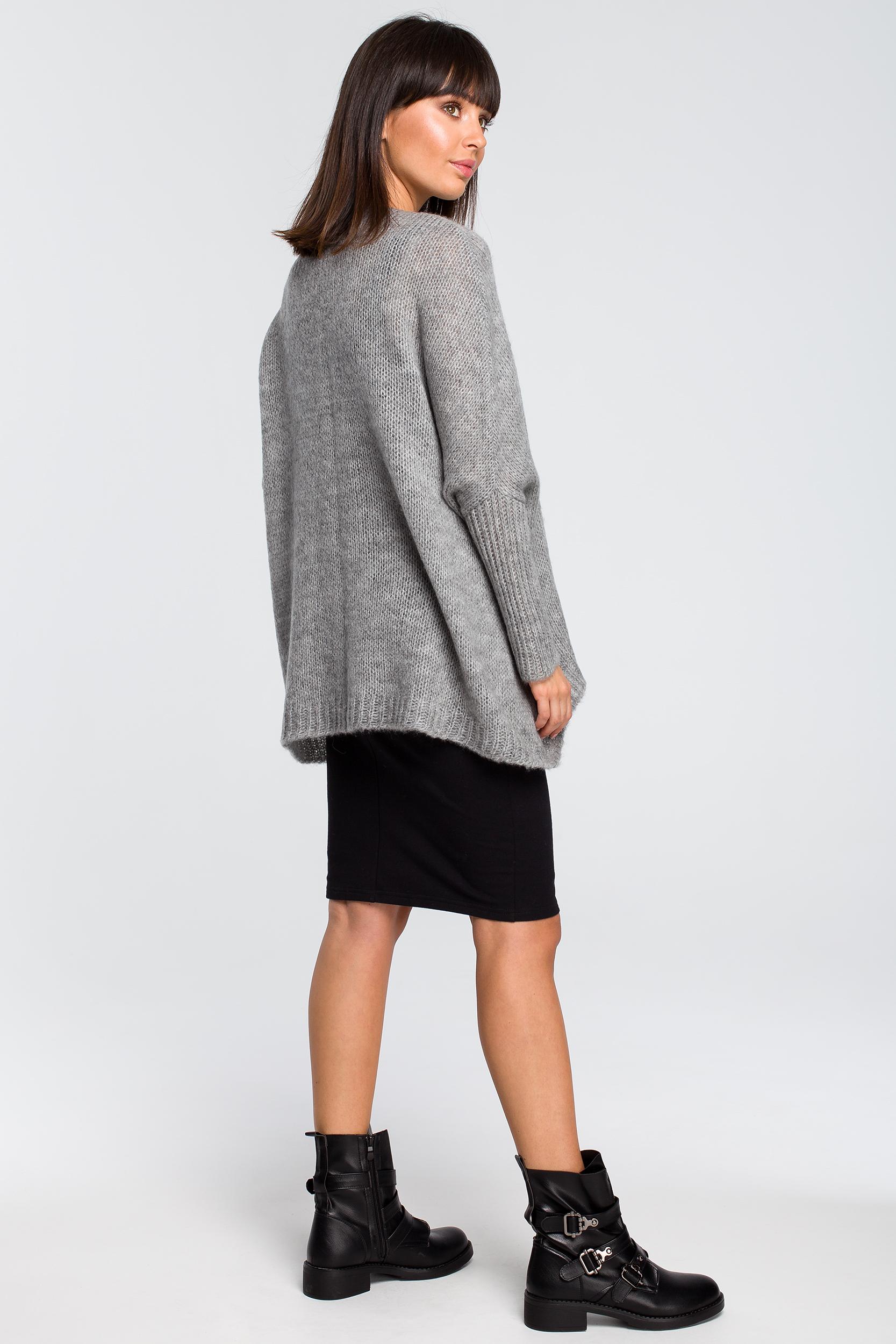 CM4145 Luźny sweter z kieszenią - szary