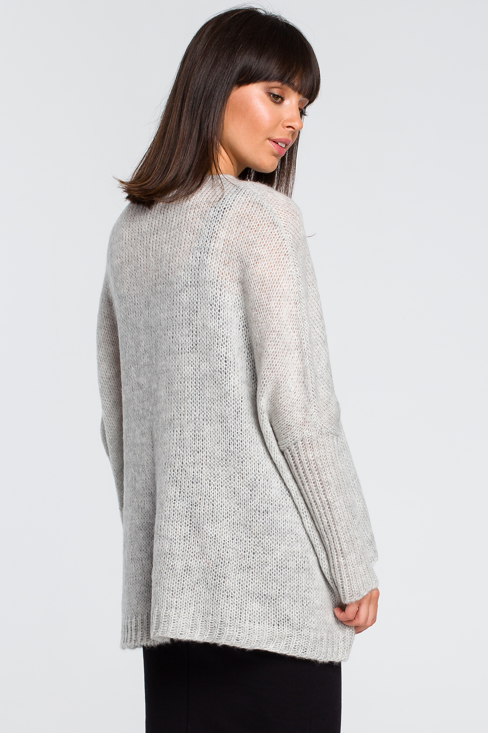CM4145 Luźny sweter z kieszenią - popielaty