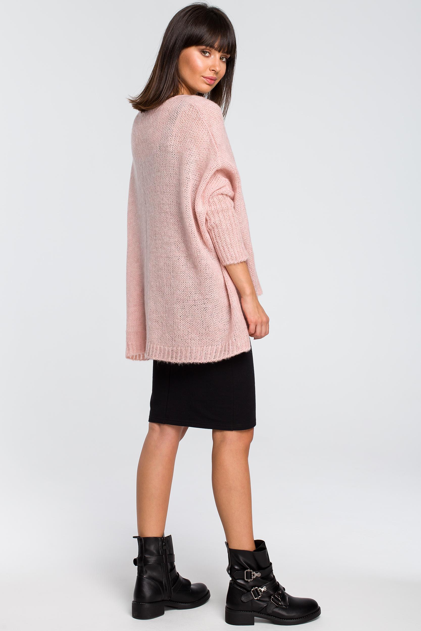 CM4145 Luźny sweter z kieszenią - różowy