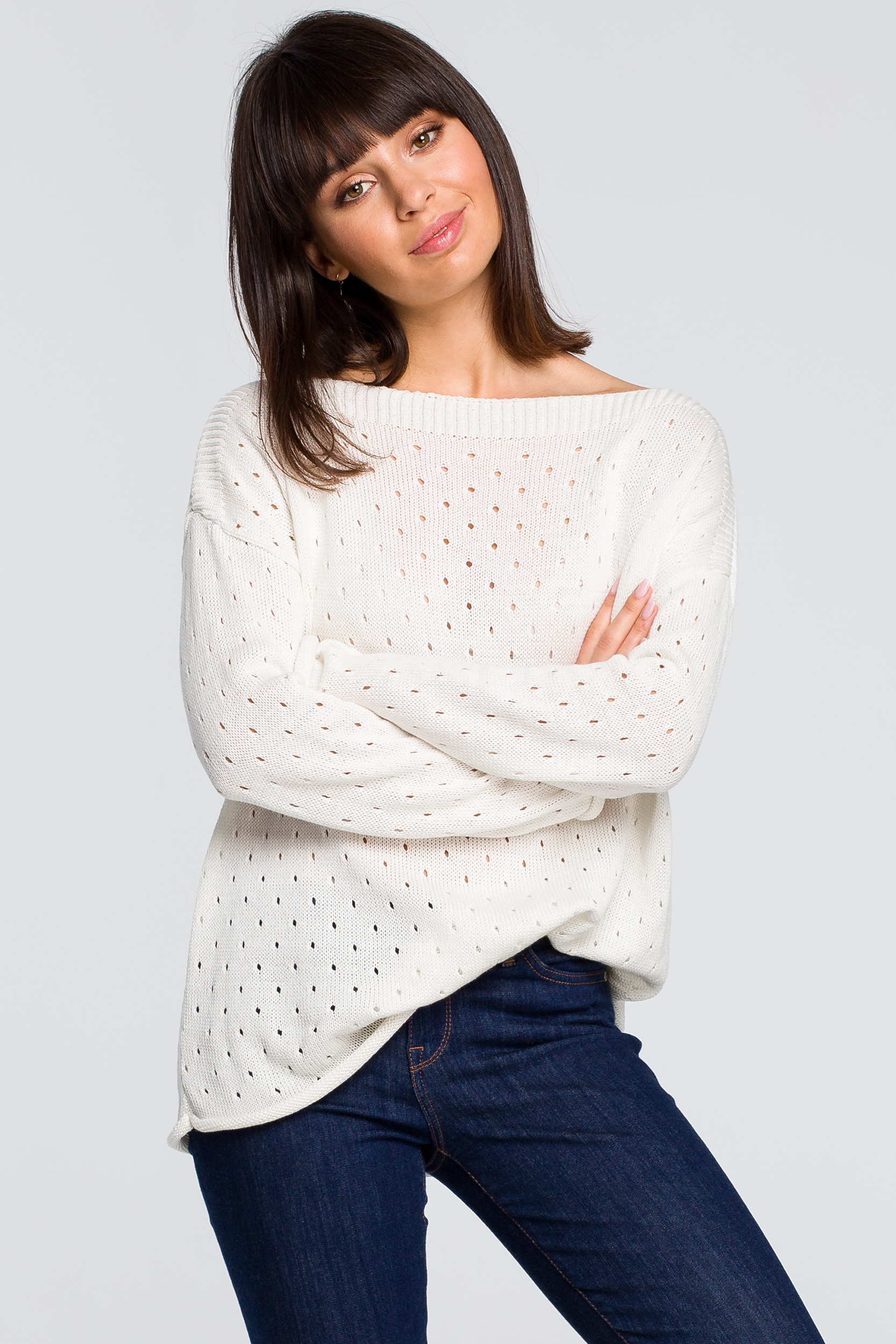 CM4146 Sweter z oczkami - ecru
