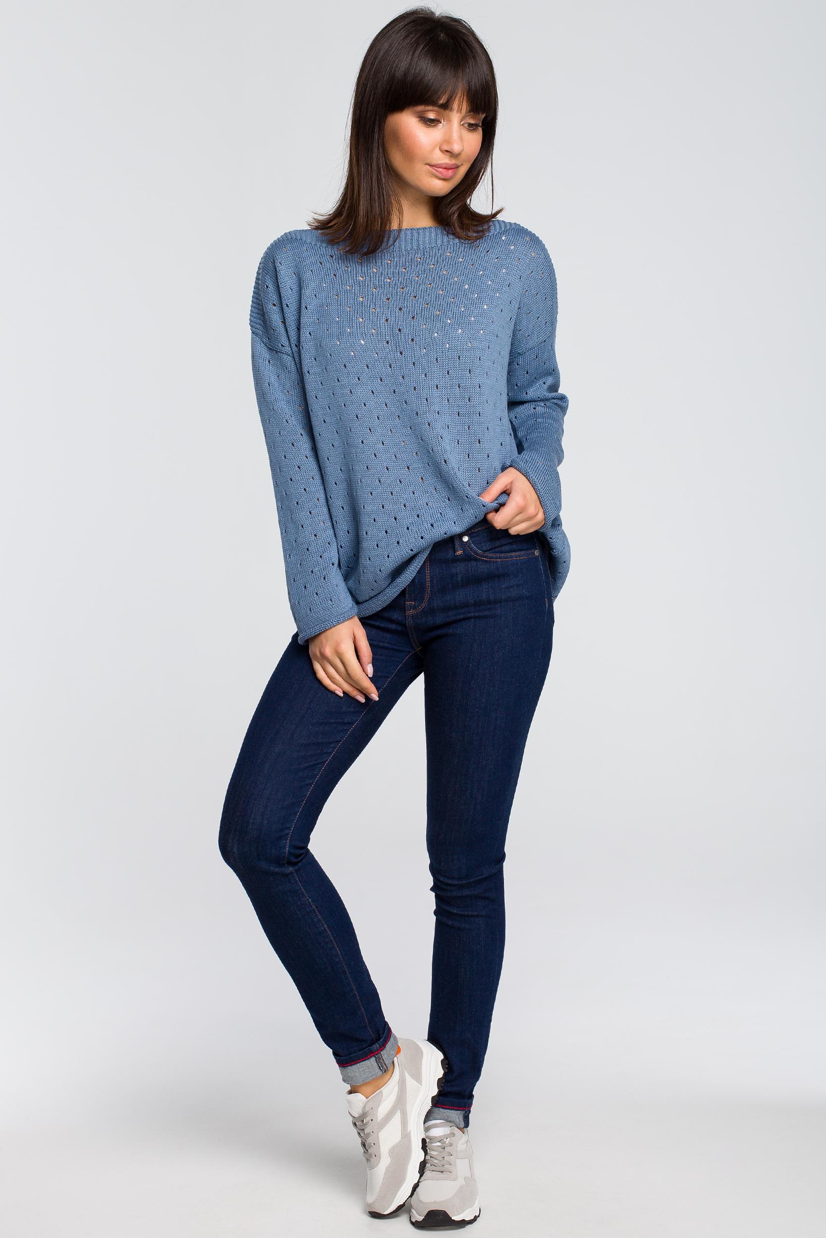CM4146 Sweter z oczkami - niebieski