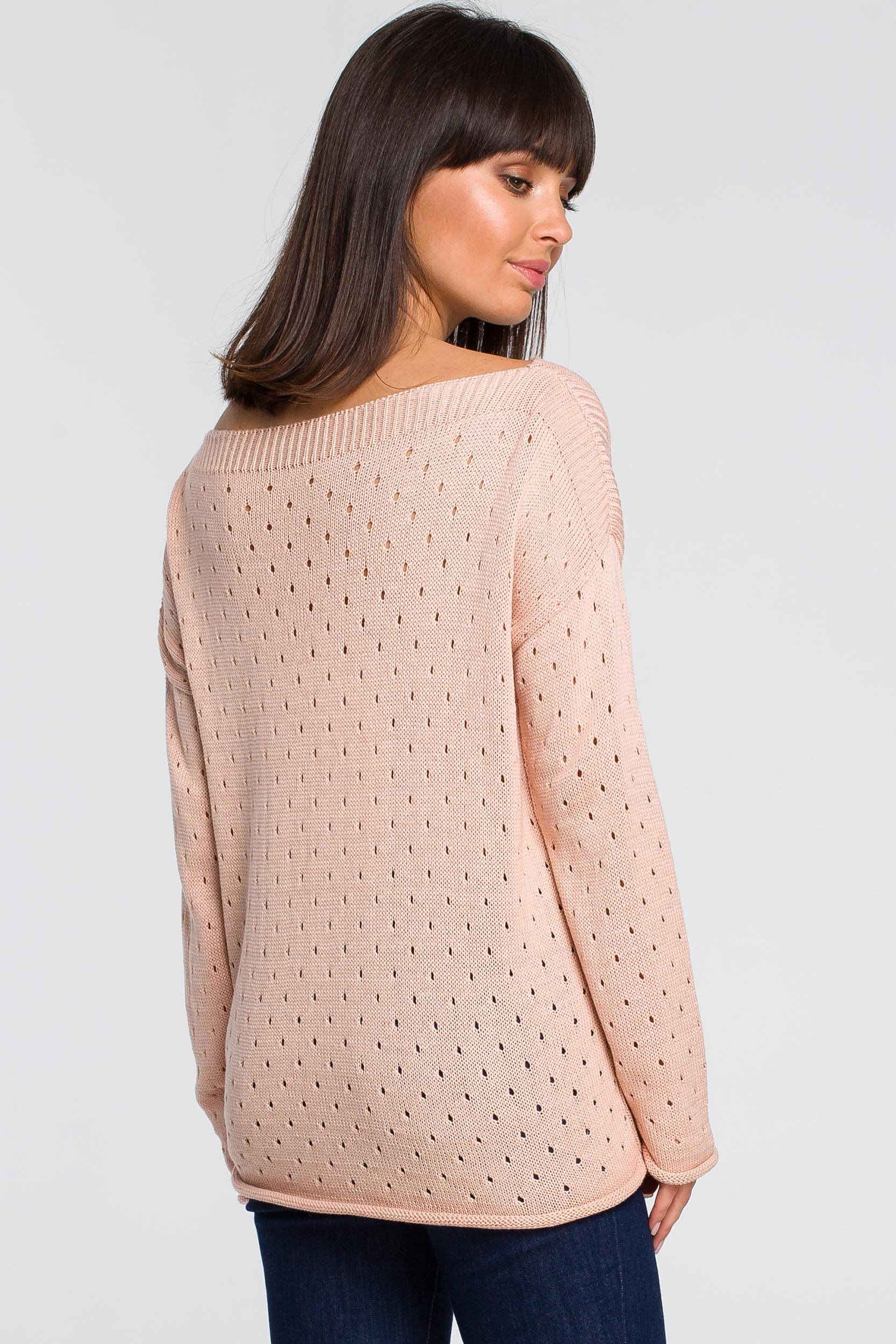 CM4146 Sweter z oczkami - brzoskwiniowy