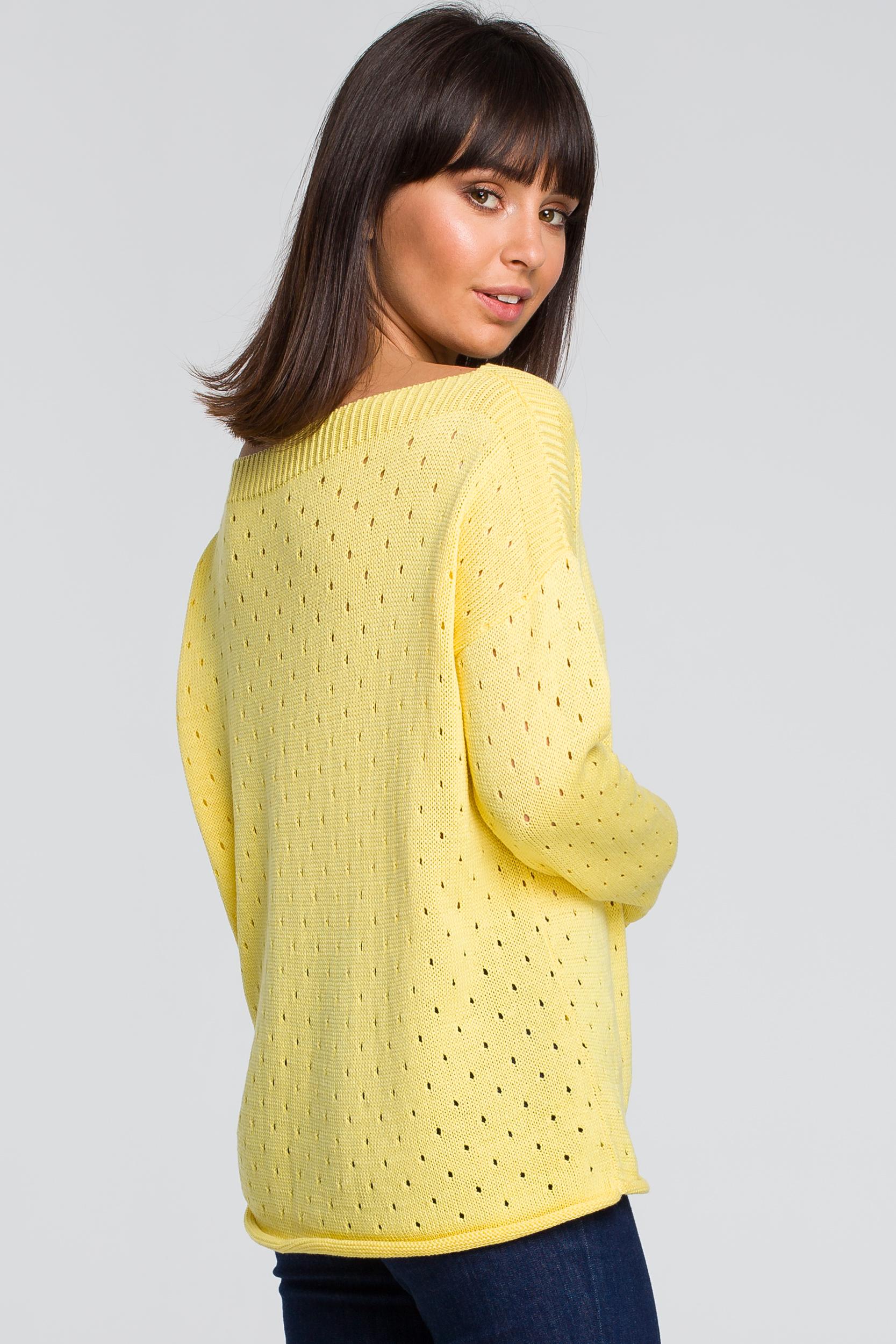 CM4146 Sweter z oczkami - żółty