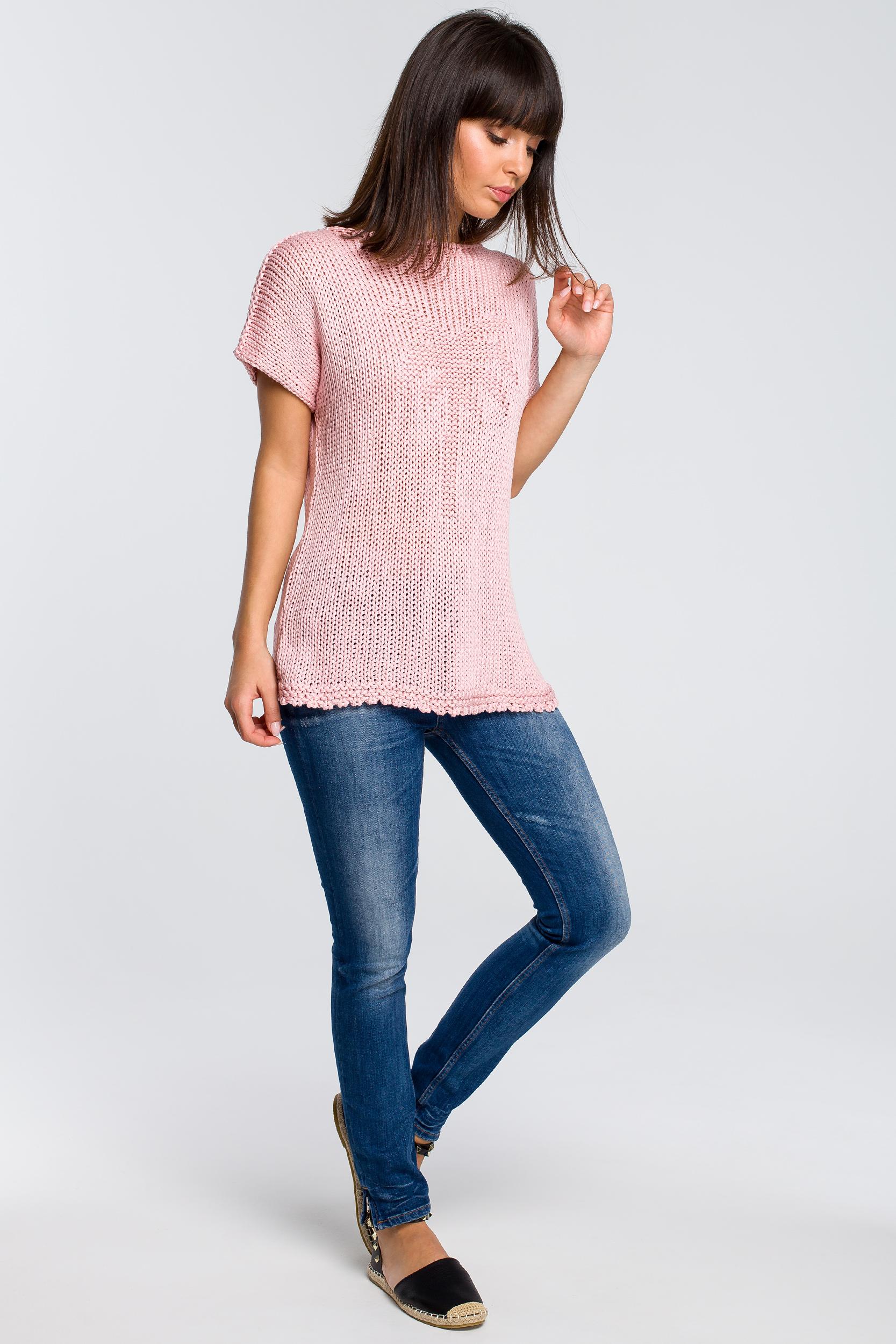 CM4147 Sweter z palmą - różowy