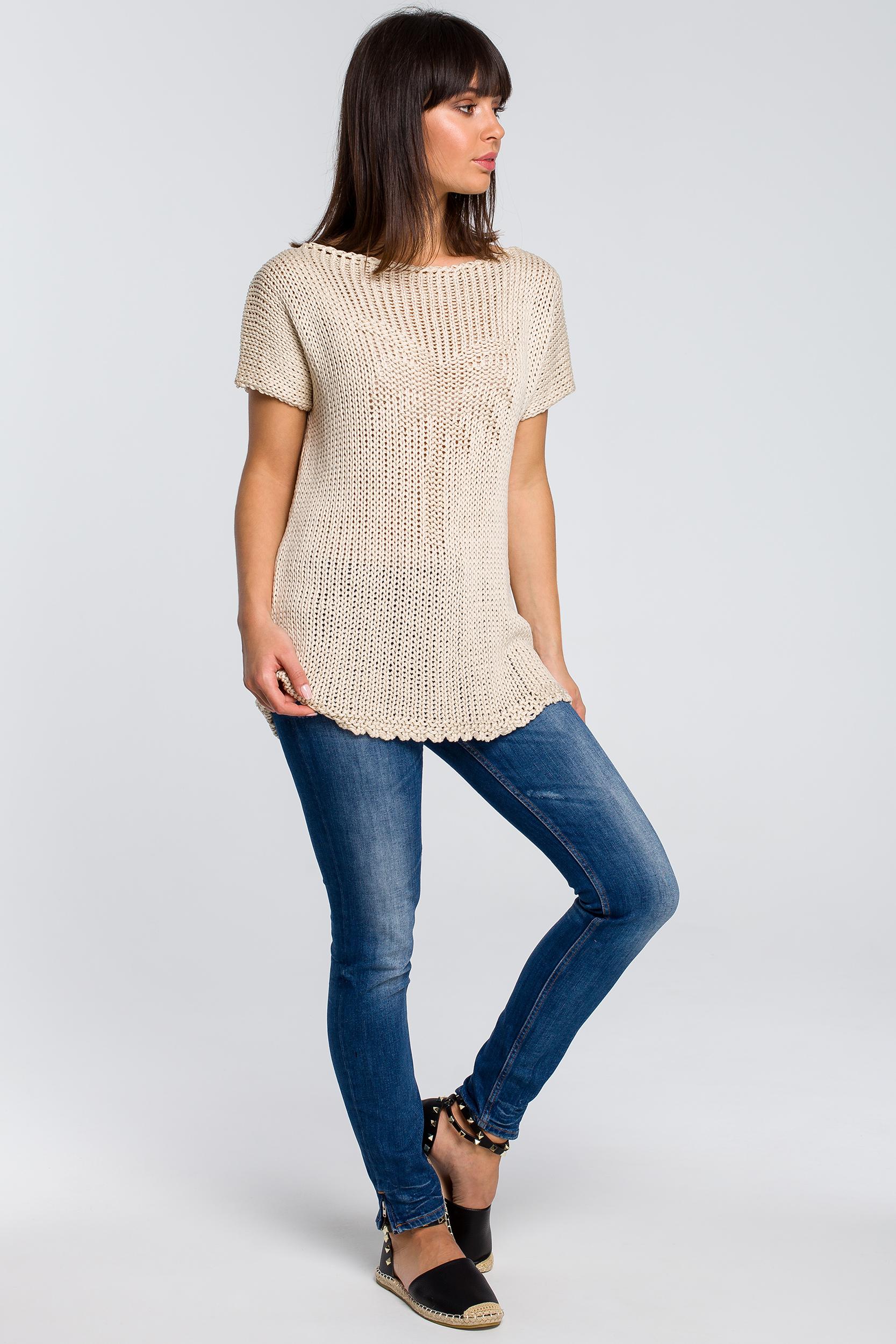 CM4147 Sweter z palmą - beżowy