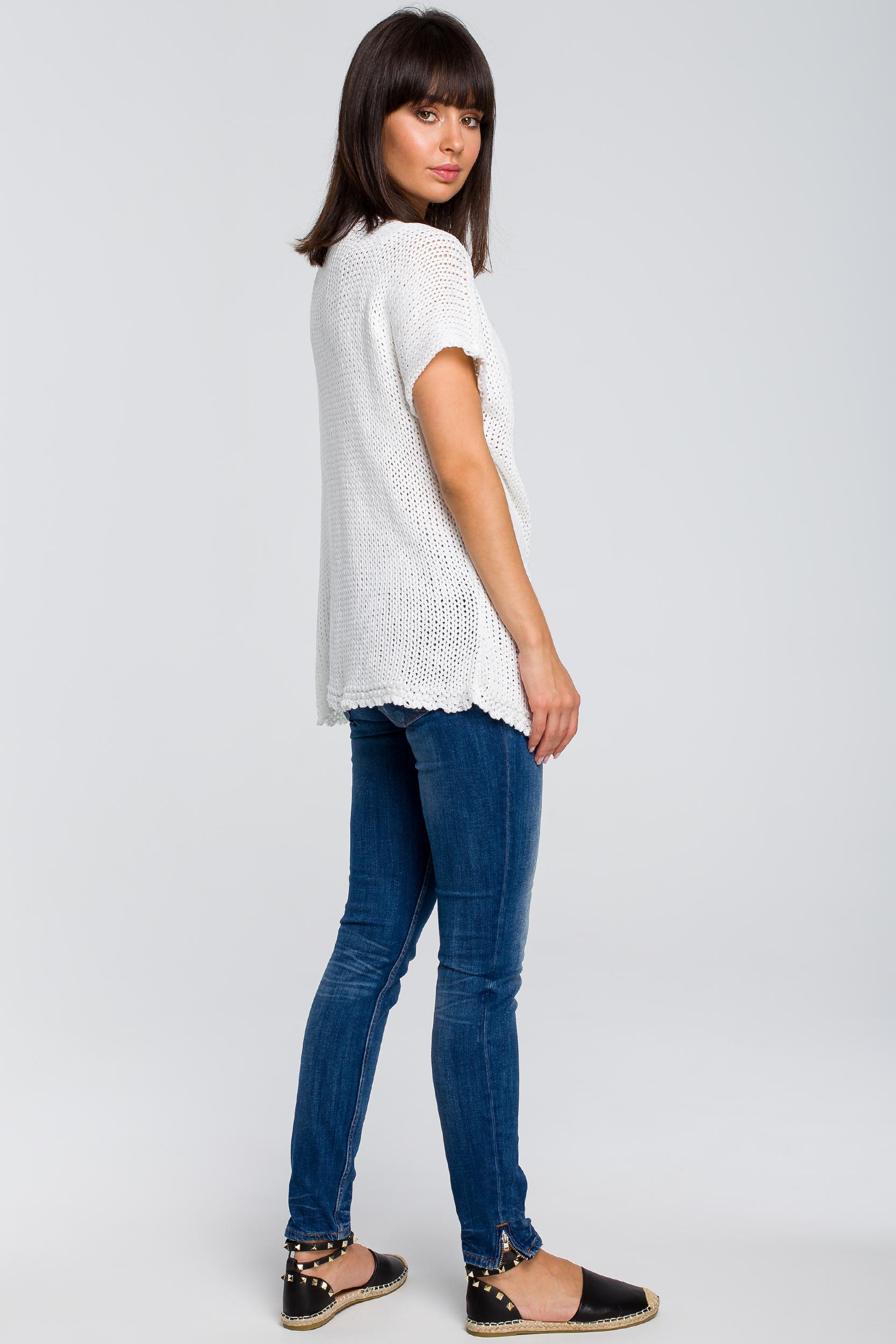 CM4147 Sweter z palmą - biały