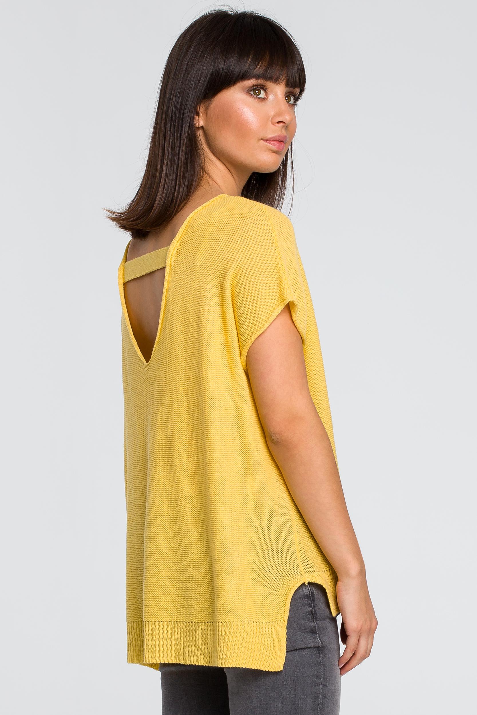 CM4148 Sweter z dekoltem na plecach - żółty