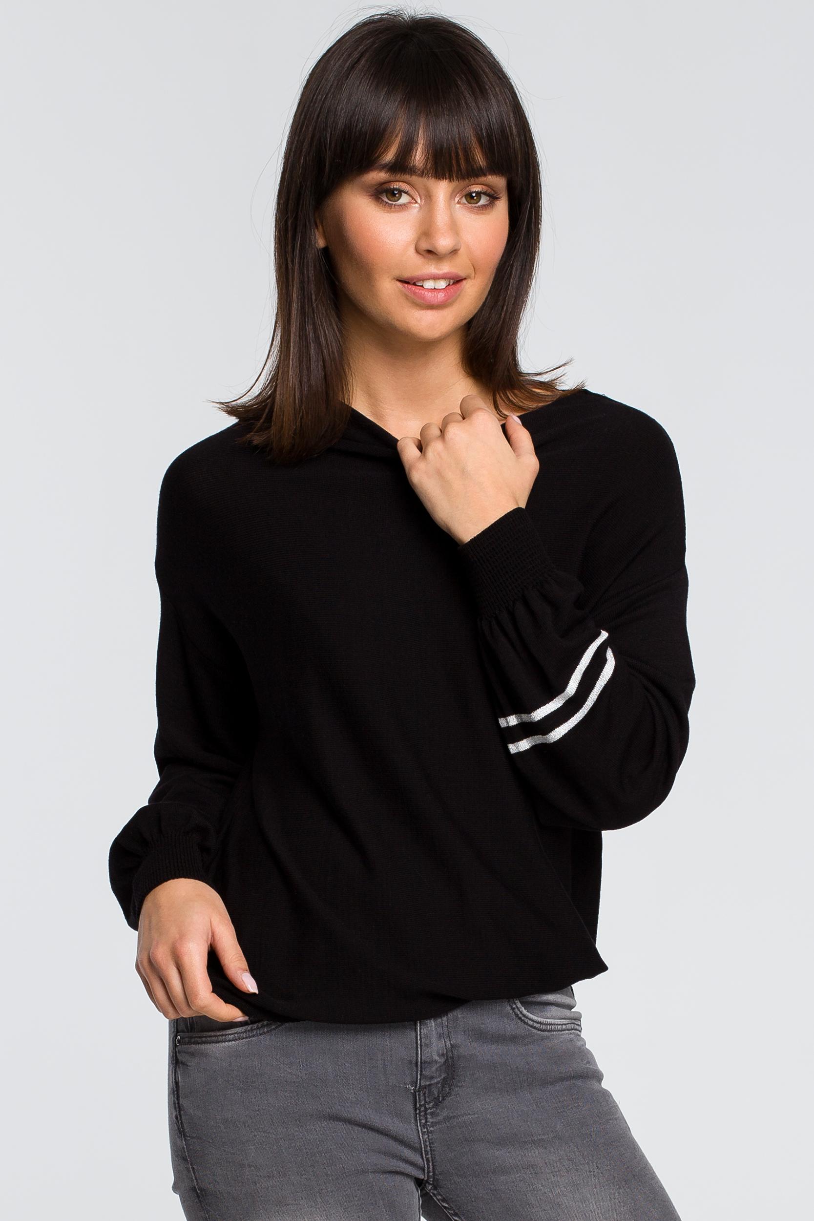 CM4151 Sweter z szerokimi rękawami i lampasem - czarny
